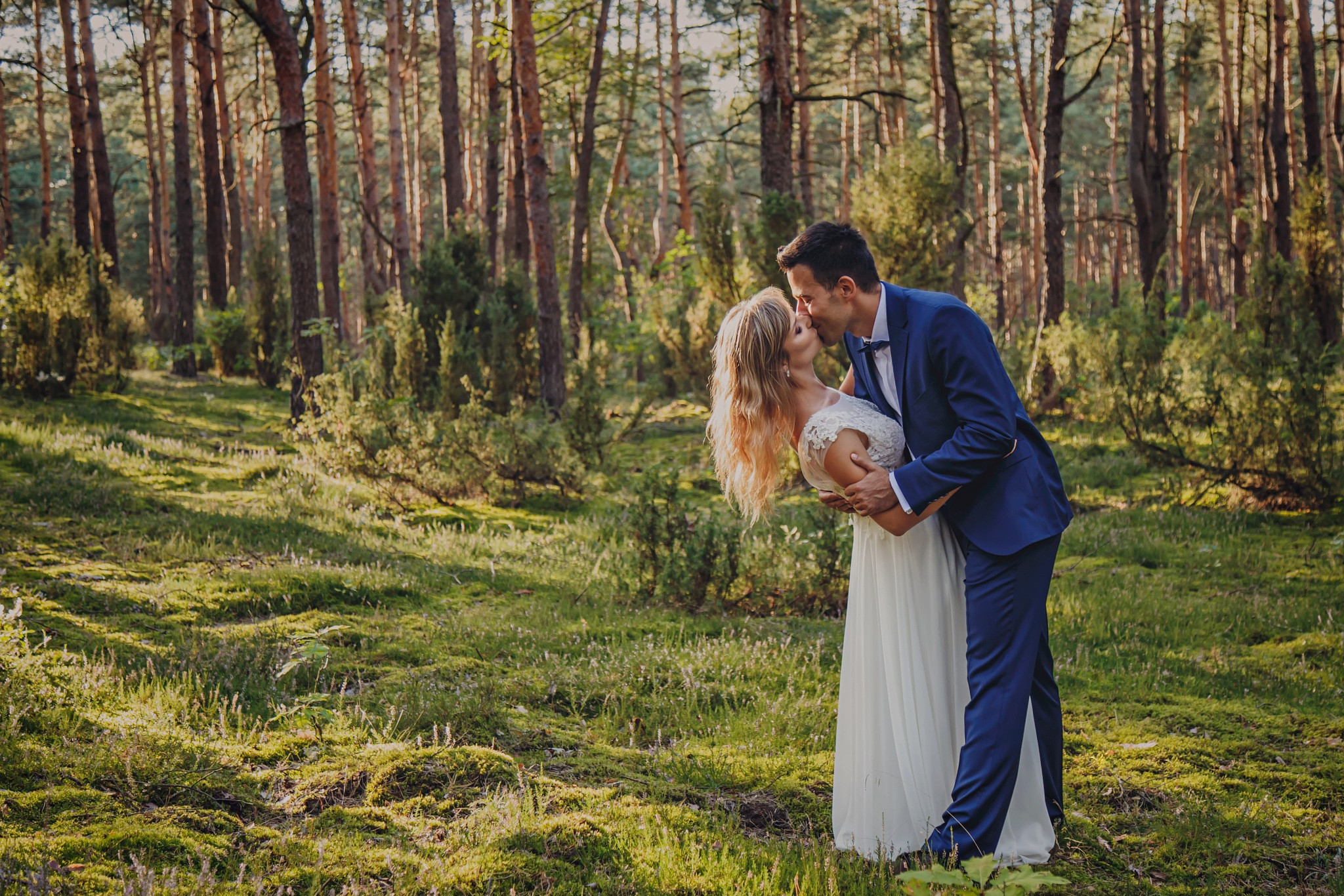 Photo in Wedding #woman #wedding #session #nature #love #kiss #green #forest #wood #light #bride #groom #husband #couple #wife #dress #sun #hair