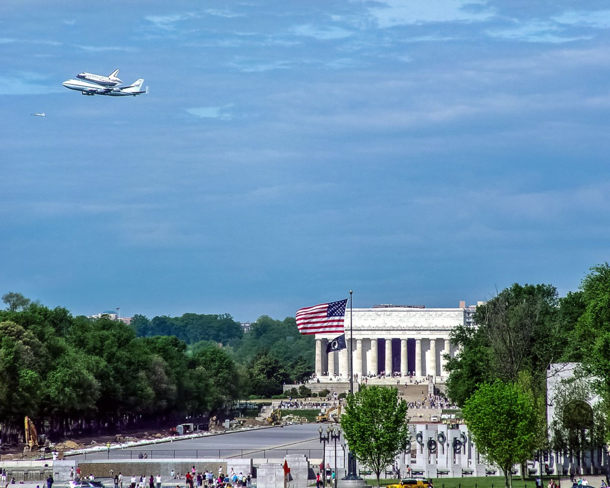 Space Shuttle Over Washington, DC by erikcoxphotography