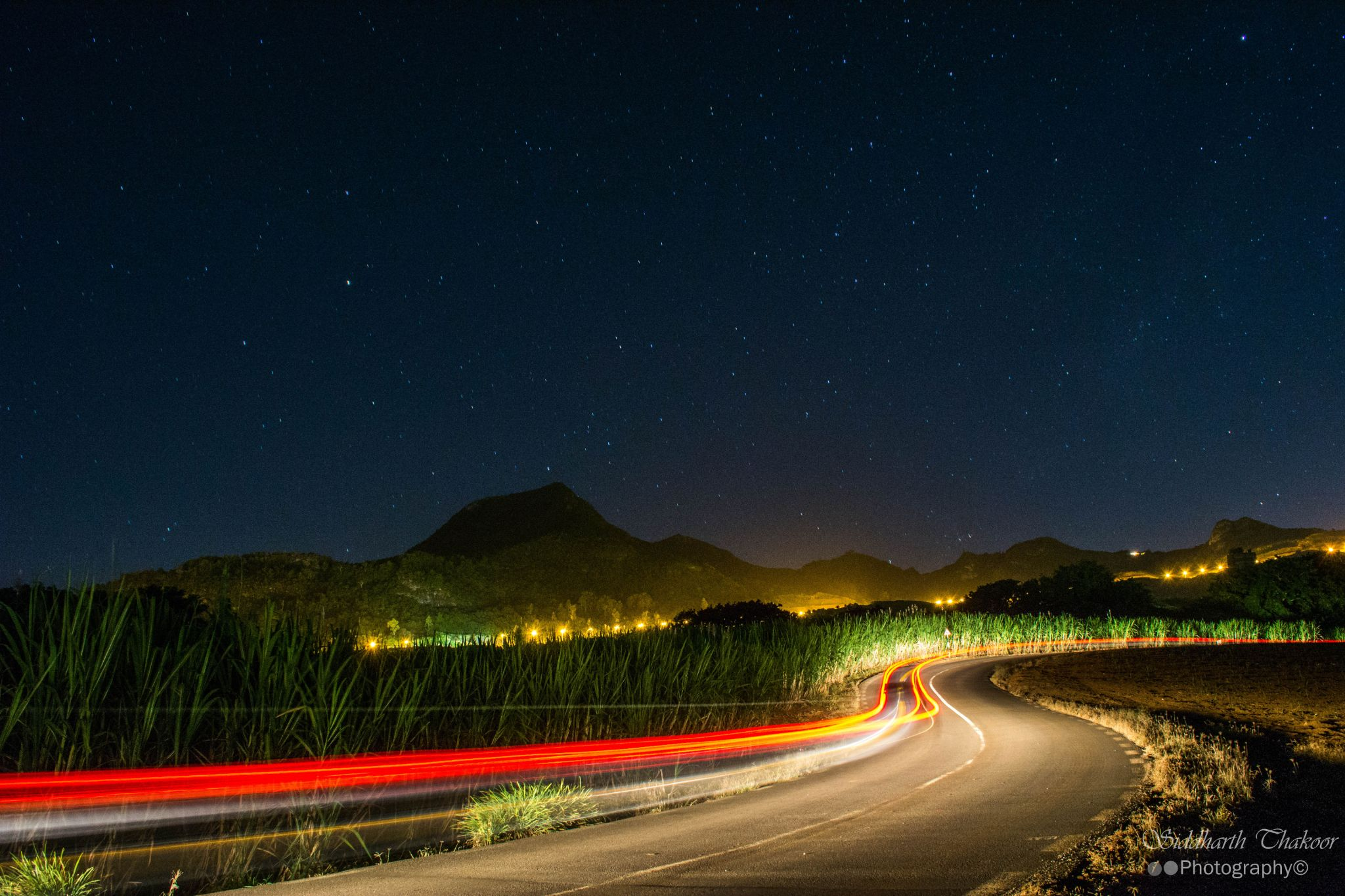 Light  trails to the mountain by siddharth.thakoor