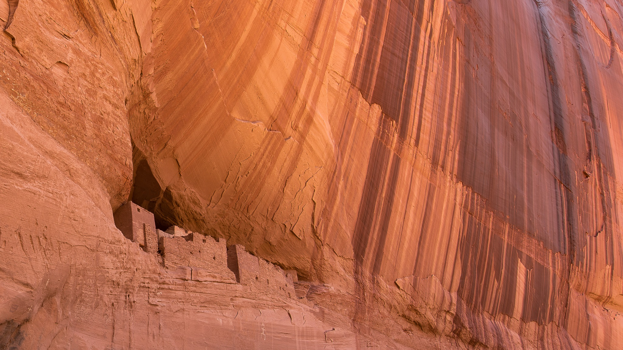 Canyon De Chelly Canyon Wall and Ruins by Steve Aicinena