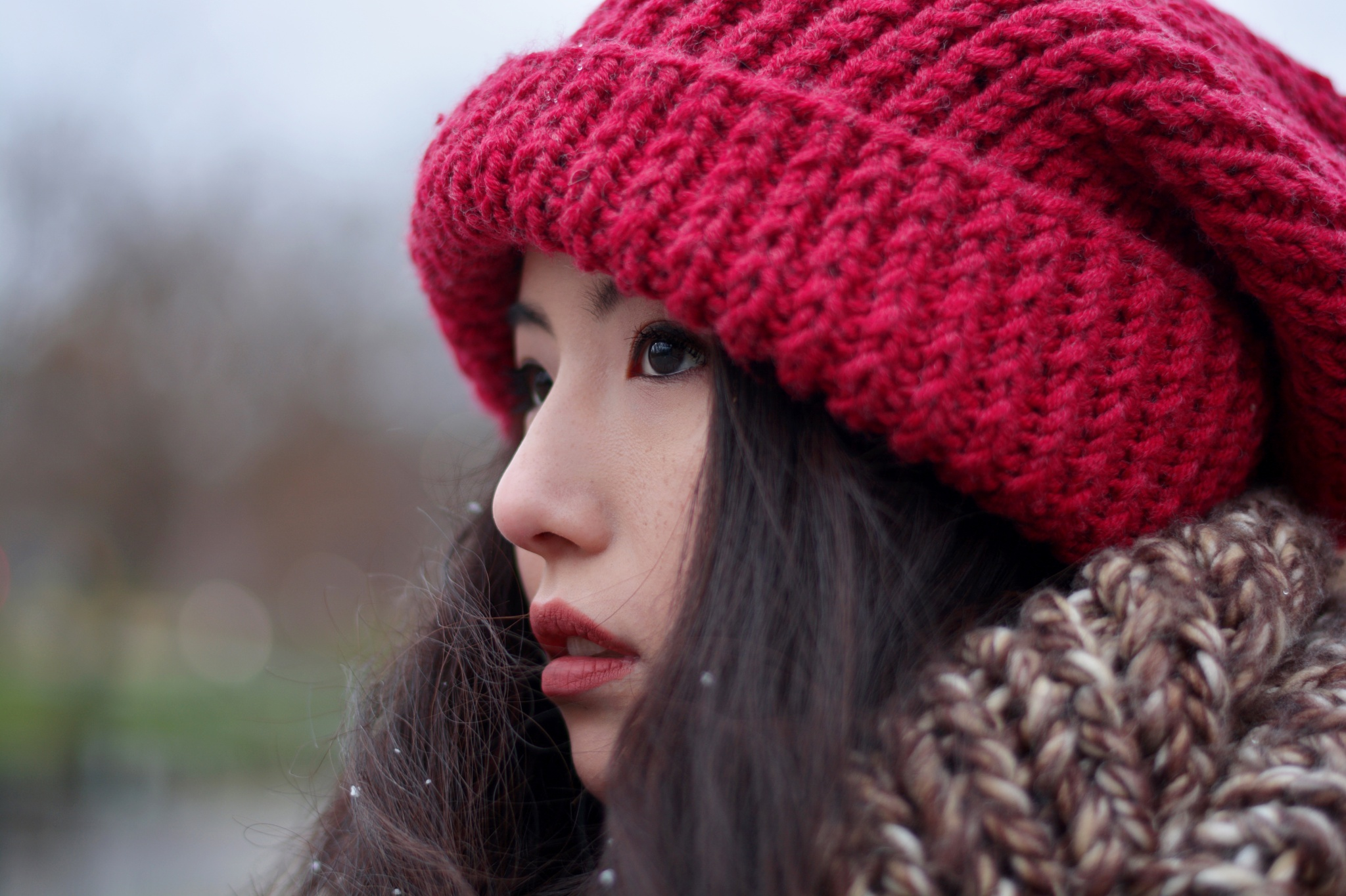 Ah..snow, face and red hat by Yoko D