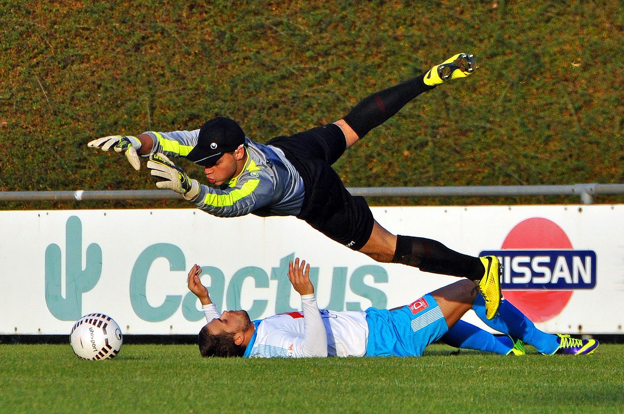 Photo in Sports #soccer #football #forwarder #goalkeeper #duel #ball #lying #green #grass #jumping #flying