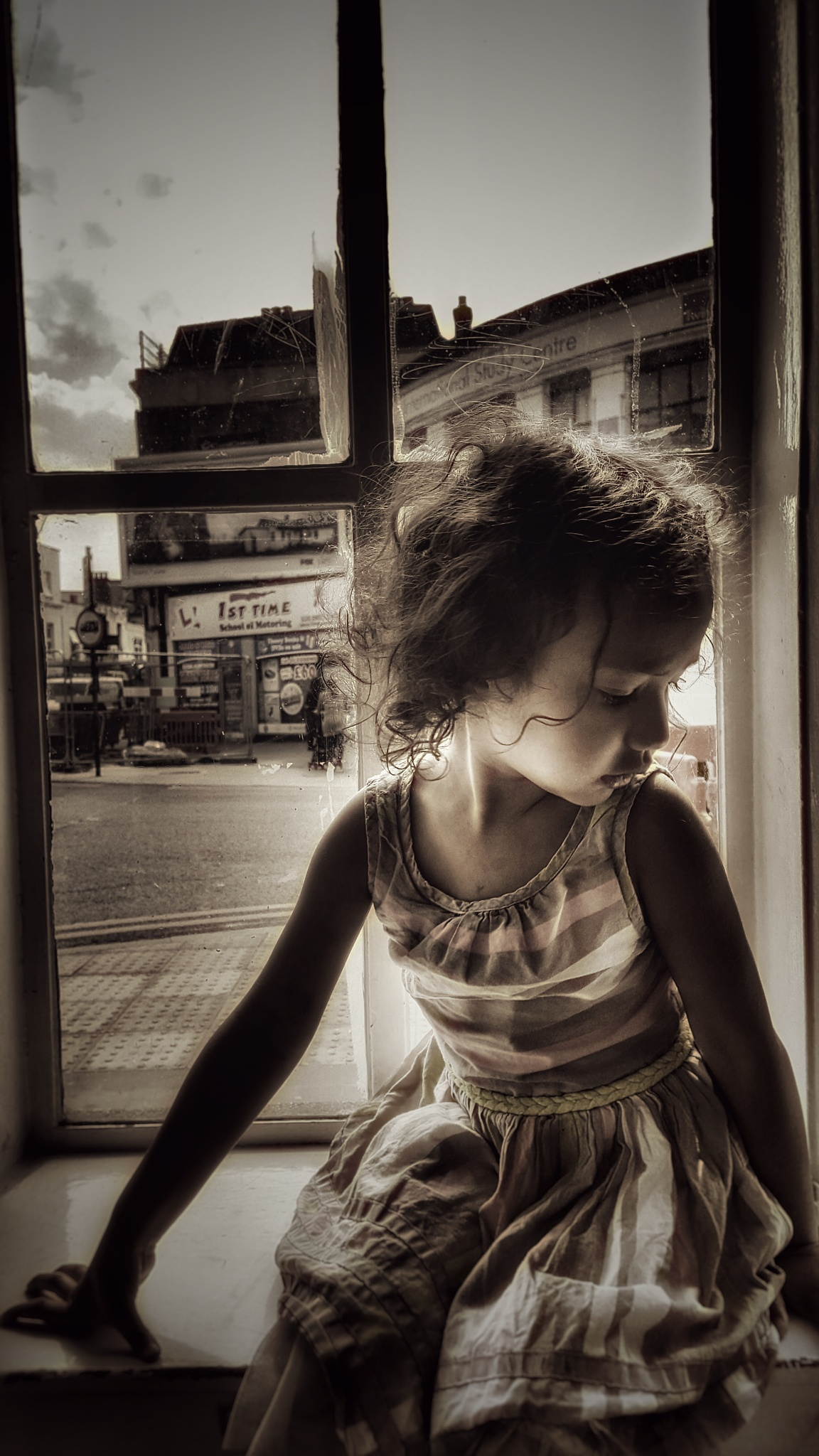 Photo in Black and White #phone photography #samsung galaxy s6 #black and white #kids #girl