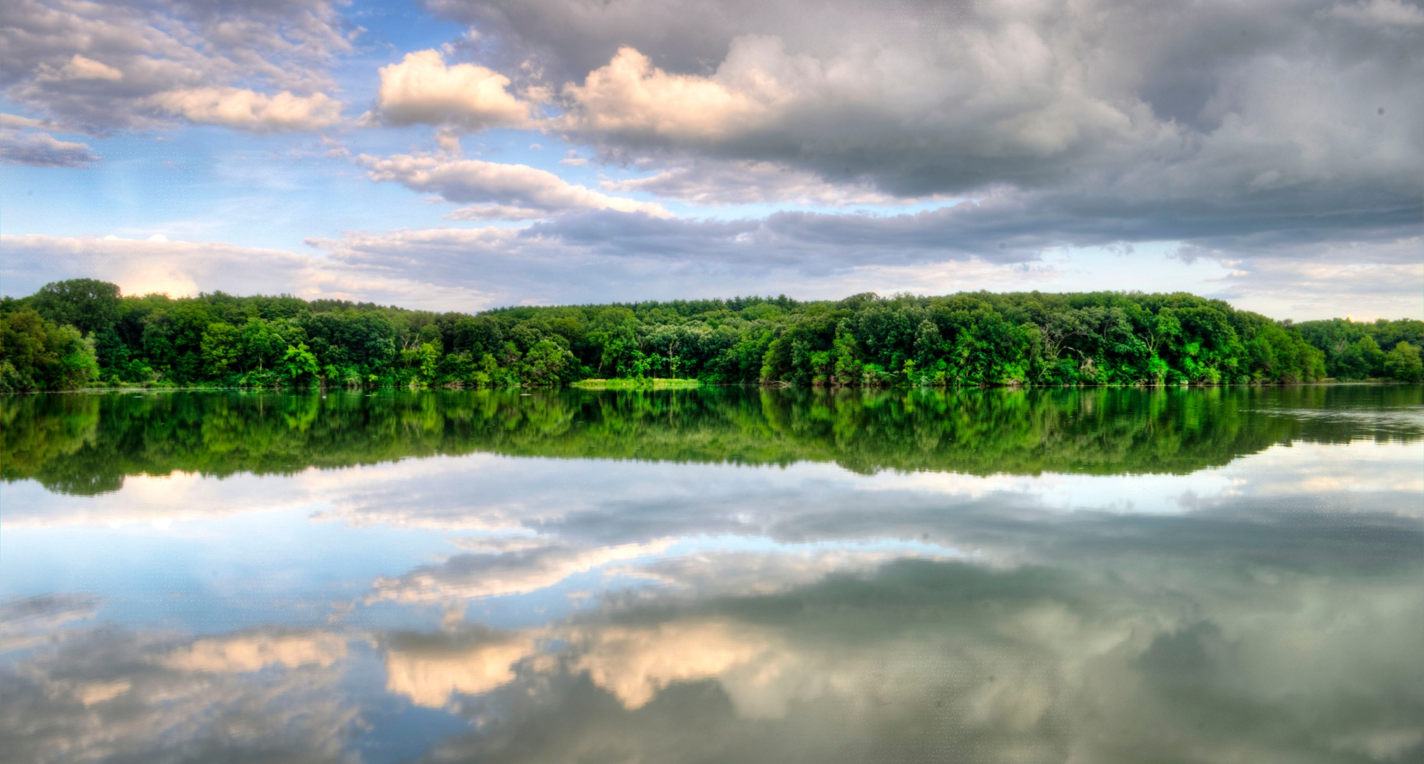 Photo in Landscape #lake #reflection #trees #clouds #sky