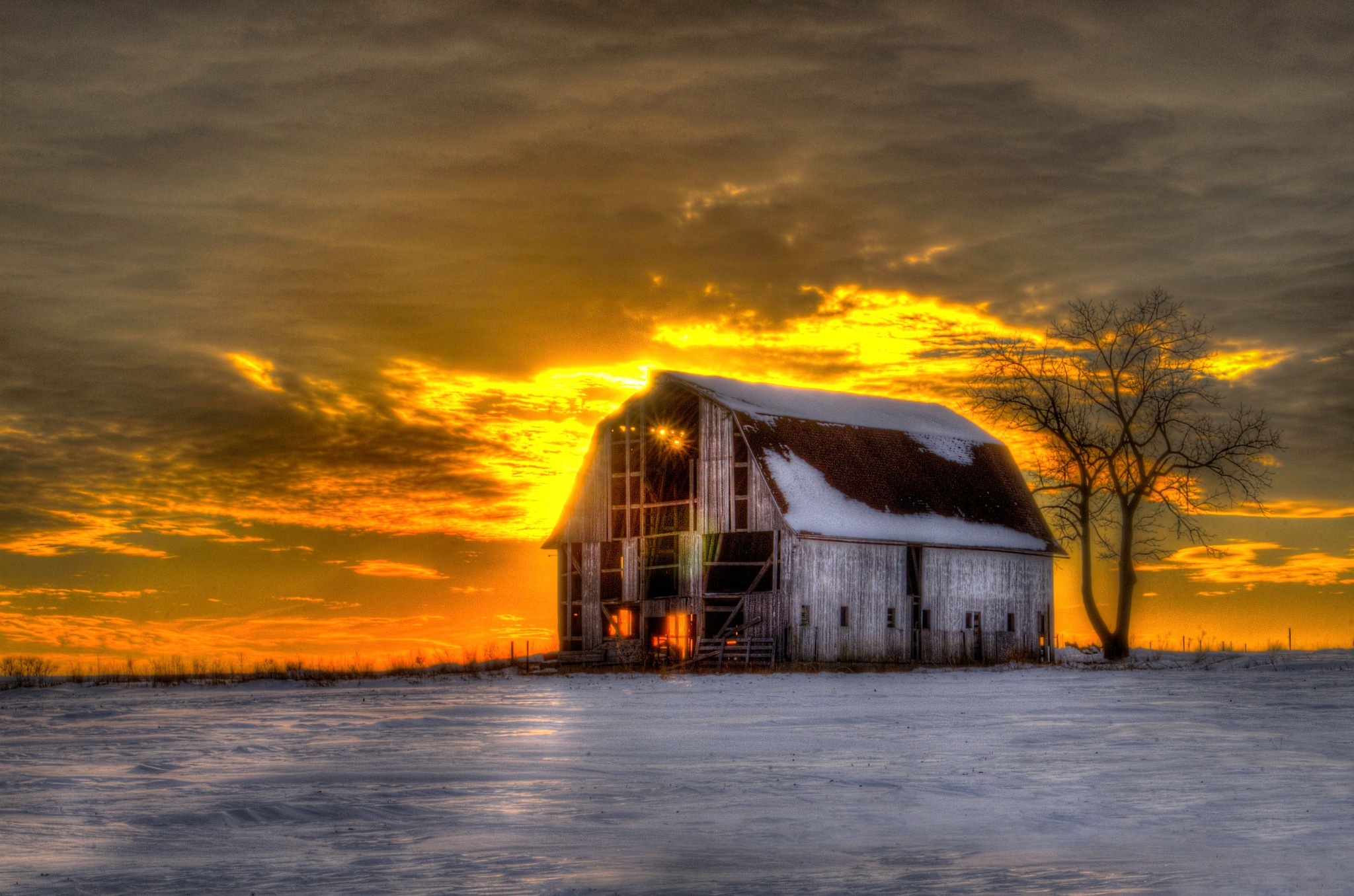 Rural Winter Sunset  by J. Philip Larson Photography