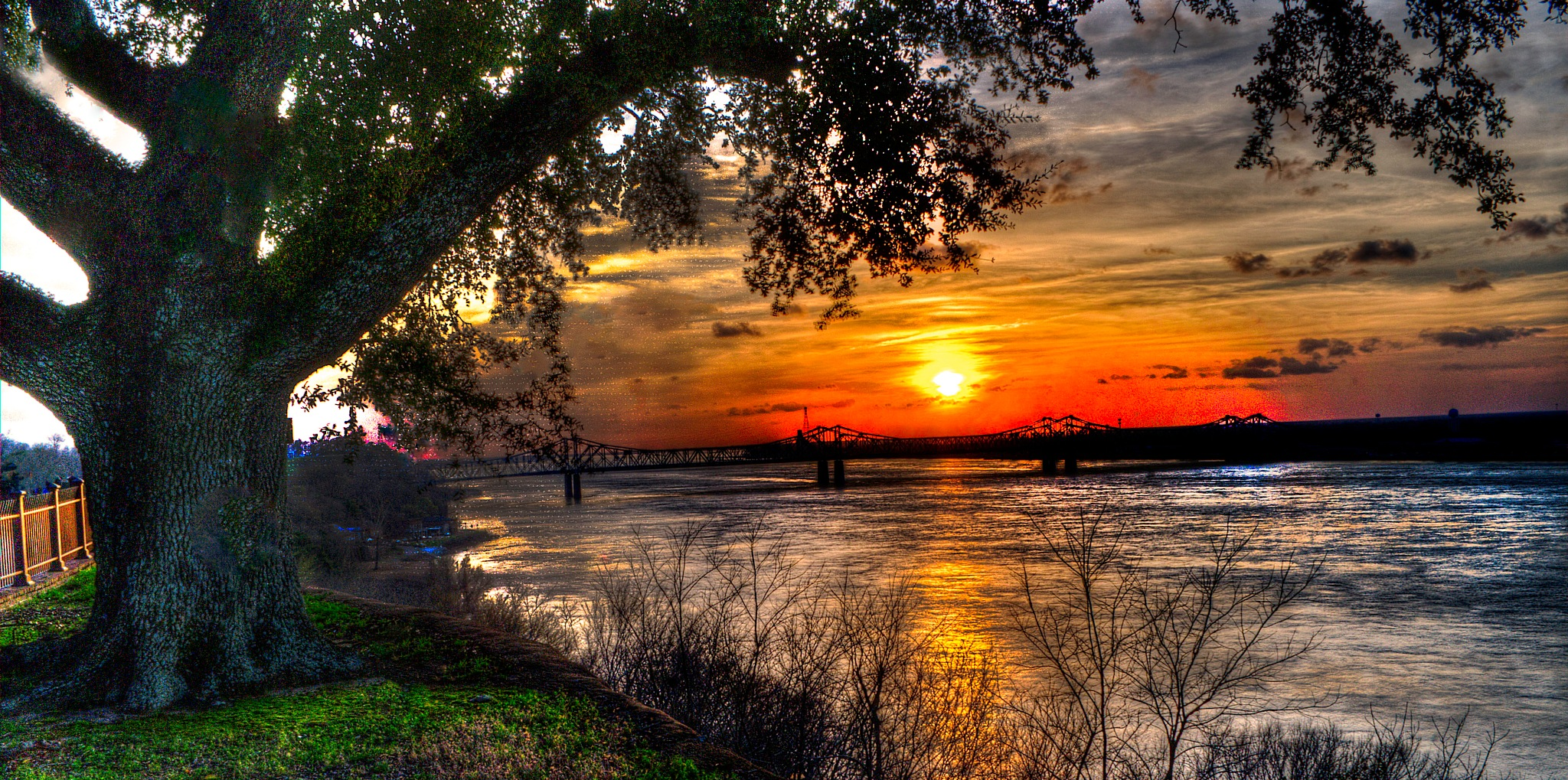 Photo in Landscape #sunset #tree #river #sky #clouds #fence