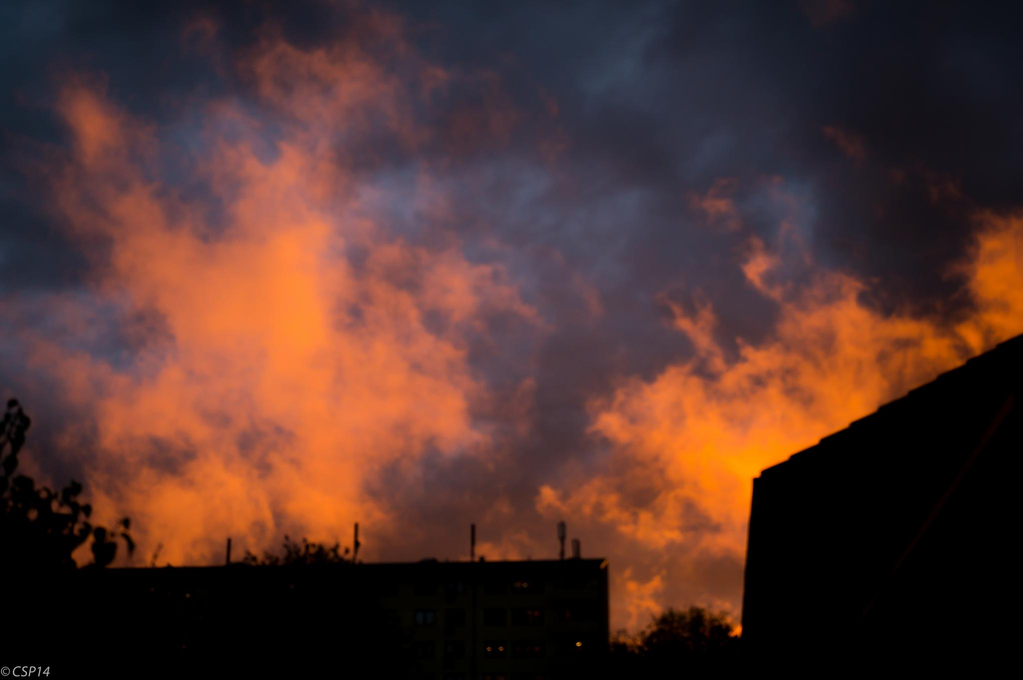 And two minute it stopped raining, the sky went on fire before it turned dark! by QuestForLight&LAS