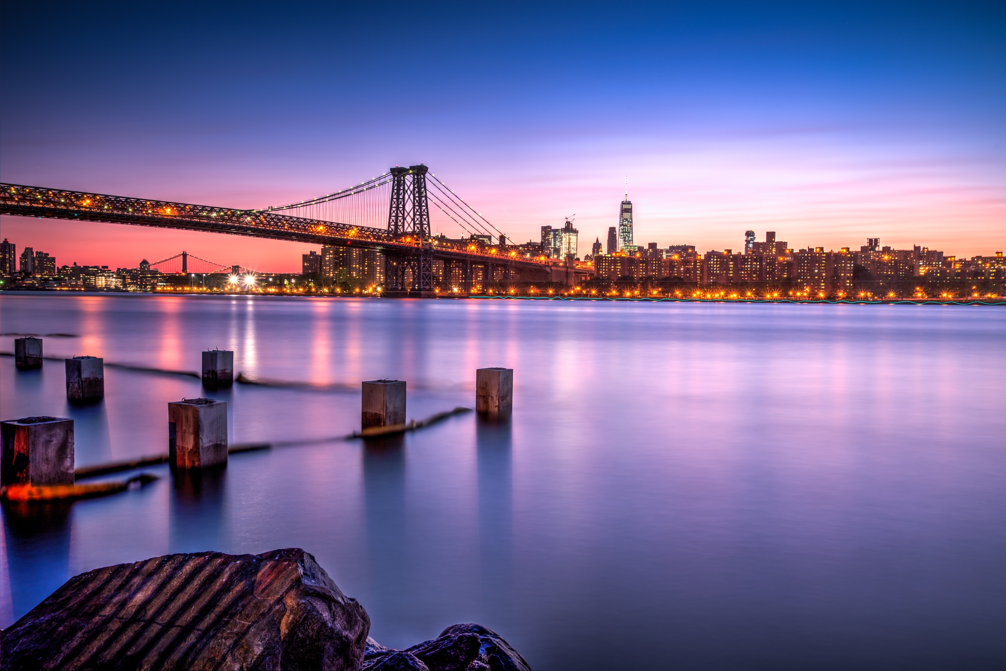 Photo in Cityscape #new york city #williamsburg #long exposure #cityscape #sunset #nightscape #bridge #architecture #east river #urban #manhattan
