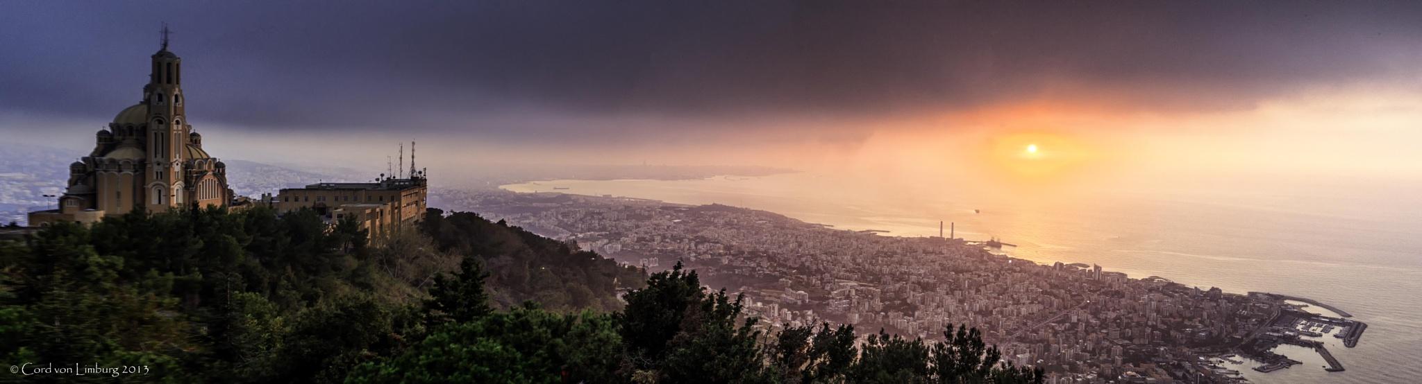 Beirut at sunset, Lebanon (Panorama) by Cord von Limburg
