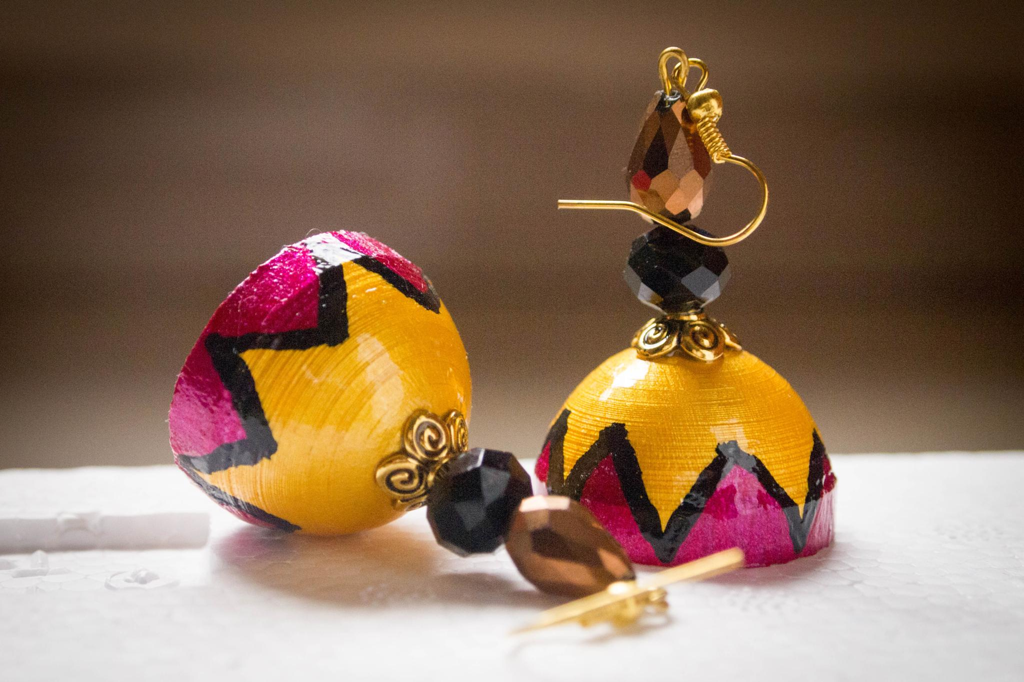 Hand crafted fashionable Indian jhumkas by prashanth r