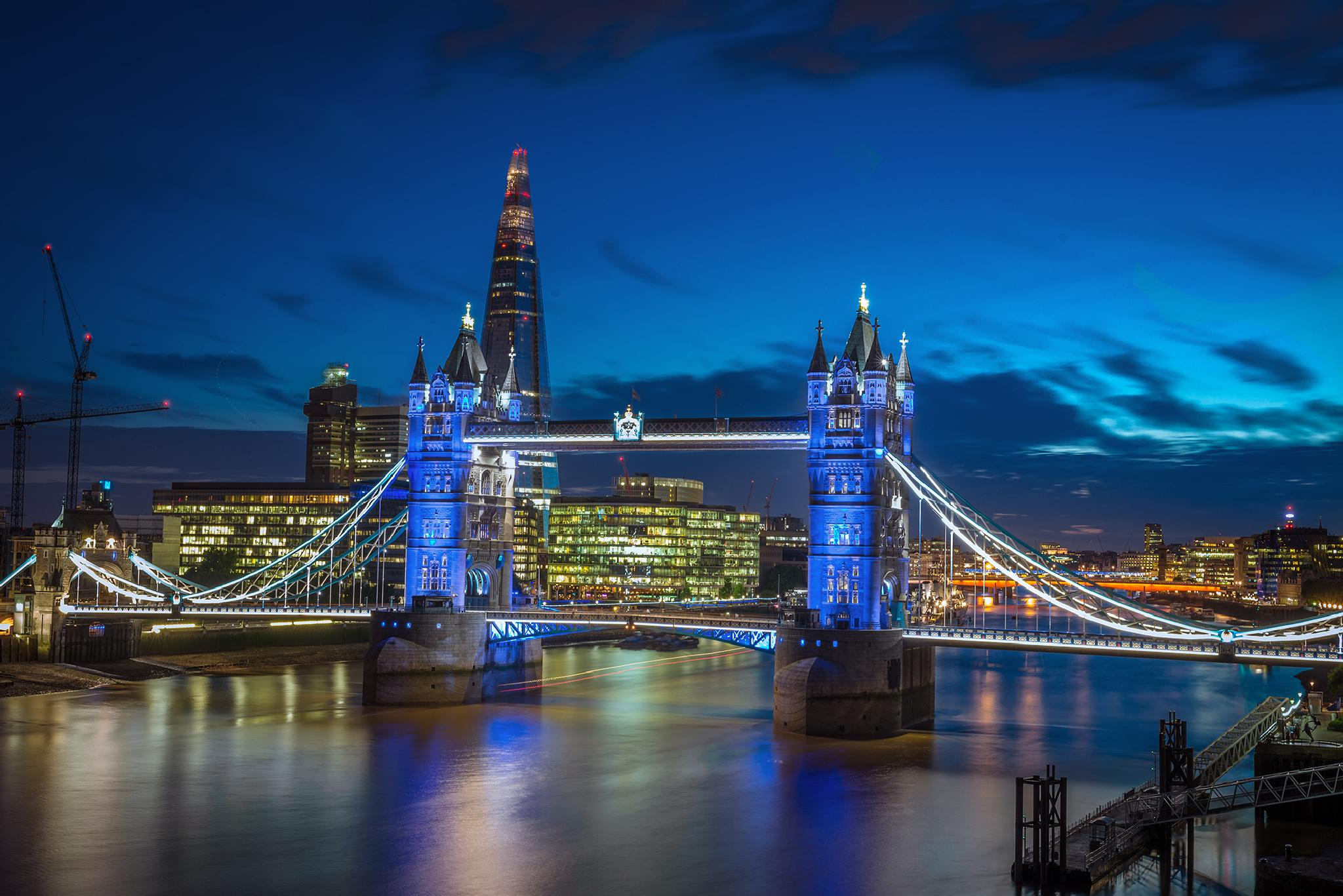 Tower Bridge Lit Blue for Royal Birth by Nick Moulds