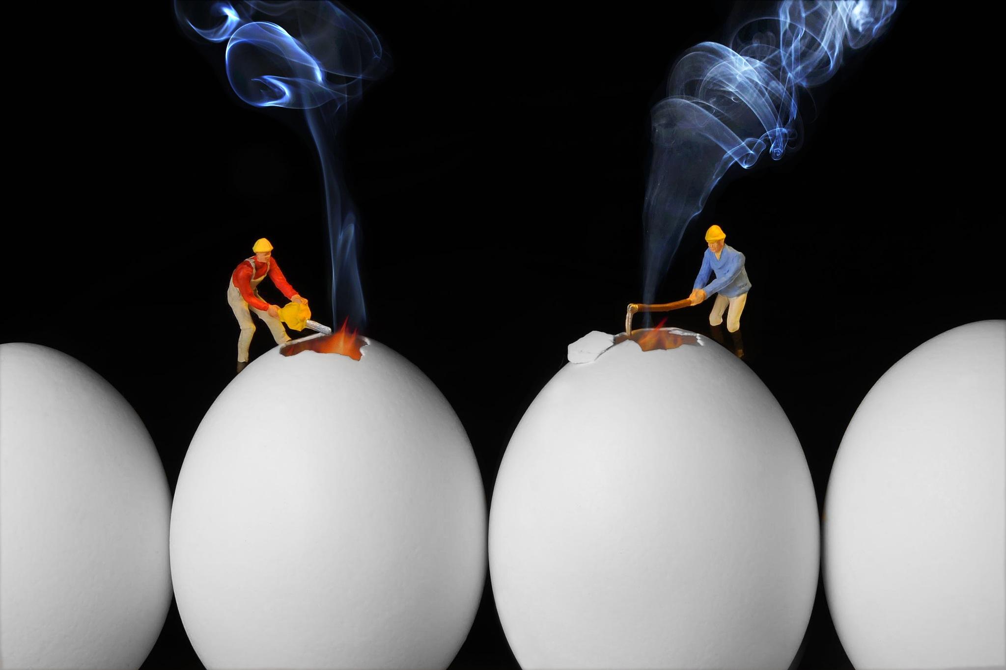 Double Eggs on Fire..... by leka huie