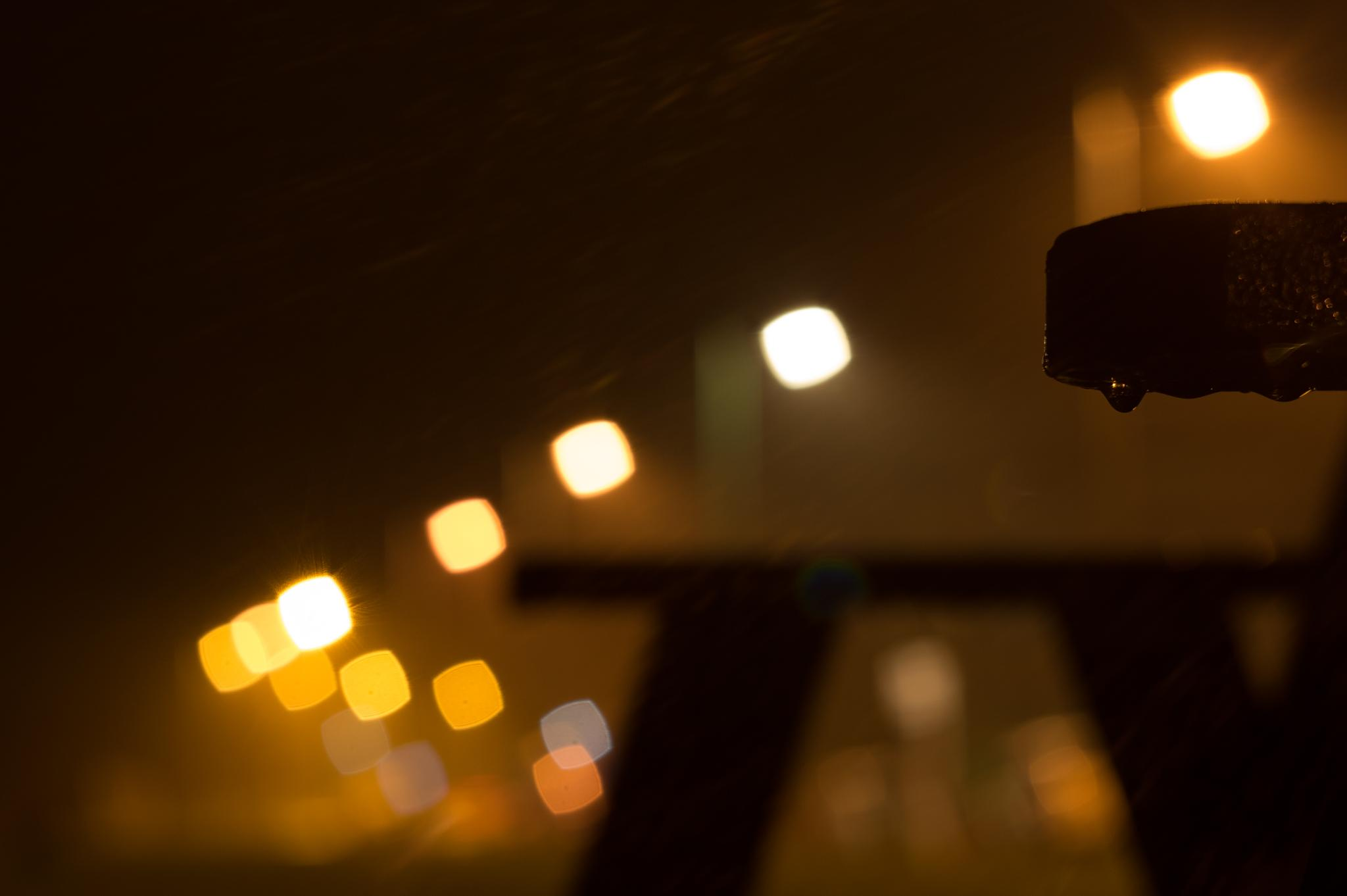 Photo in Cityscape #44-2 #aperture #bench #blades #bokeh #helios #lee-on-solent #lens #lights #modified #night #rain #square