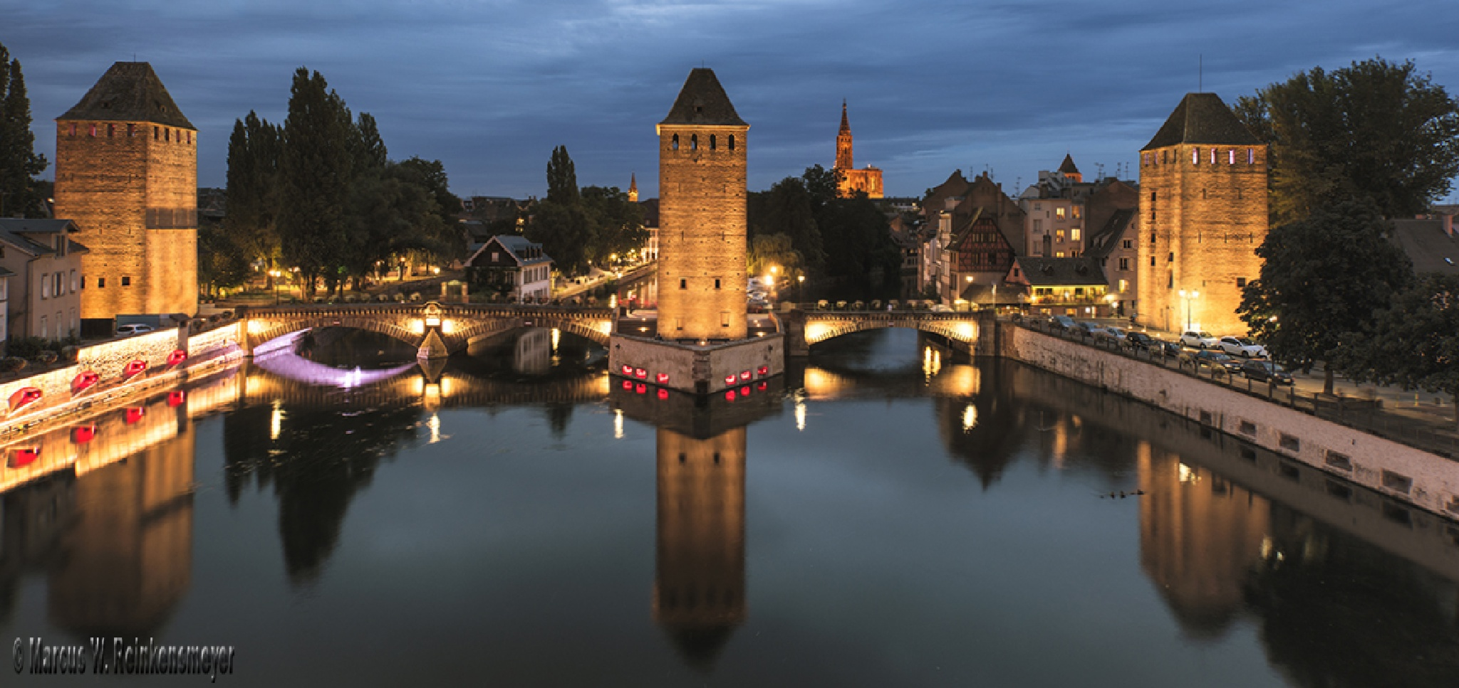 Night Falls on Strasbourg, France  by reinkensmeyer