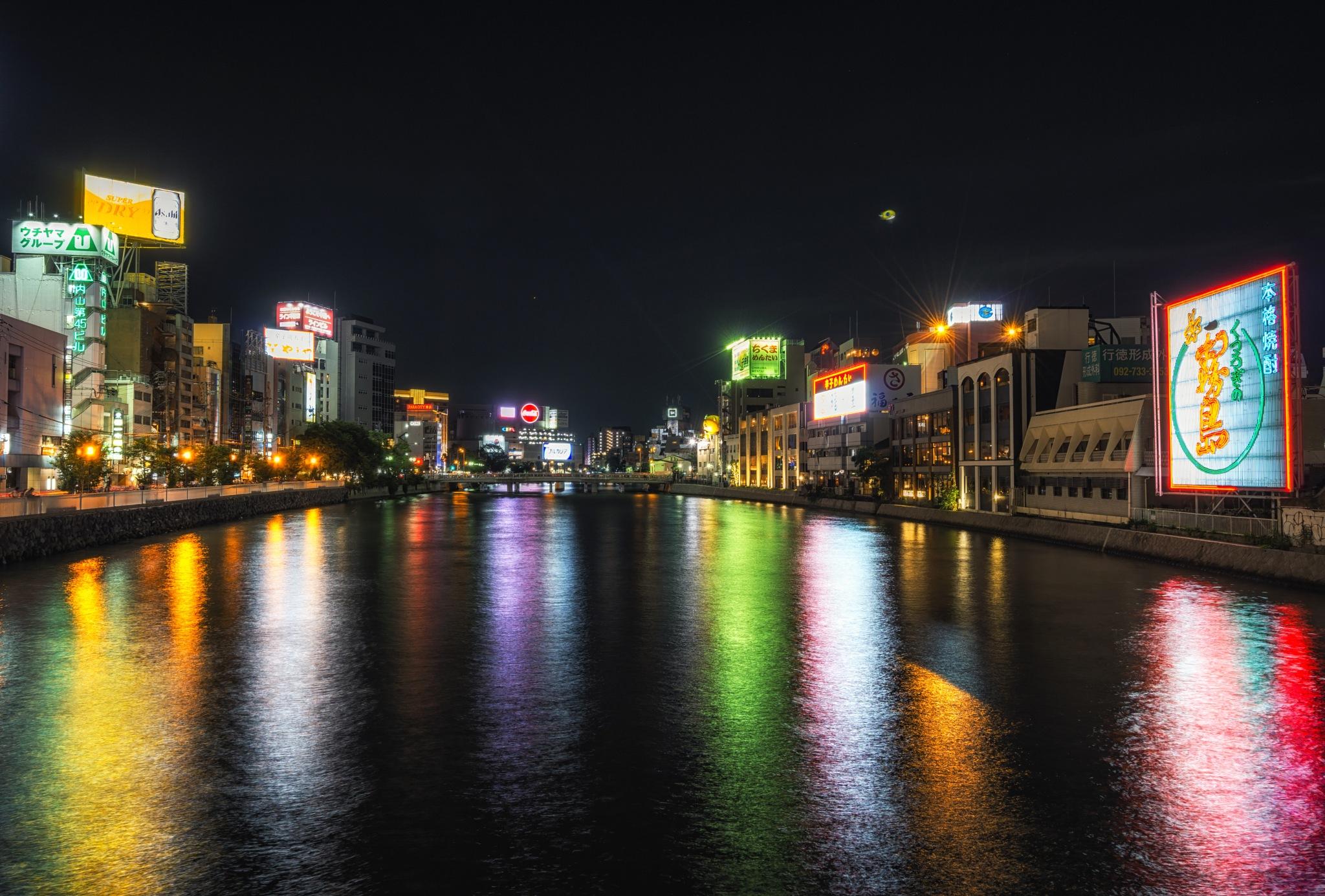fukuoka naka river at night by Aaron Choi