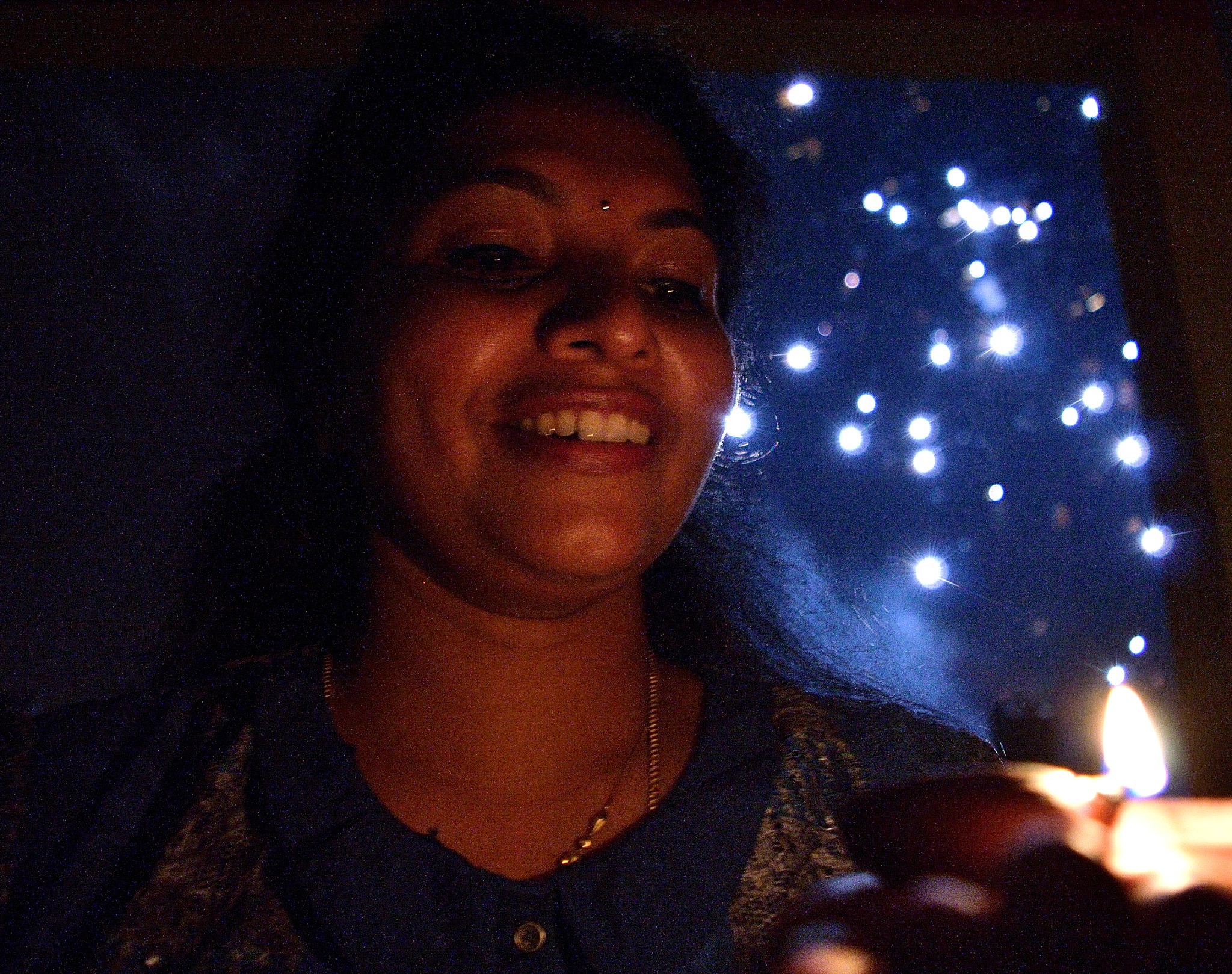 Portrait in the background of fireworks!!!!  by Sudharshan