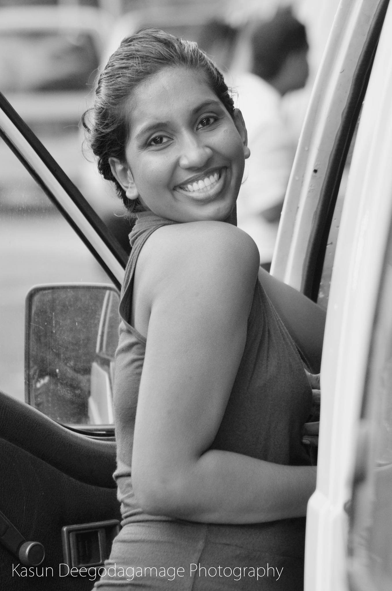 Photo in Black and White #smile #girl #people #road #trip