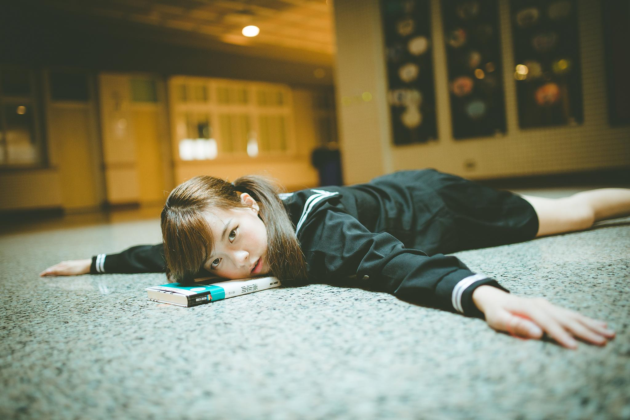 Photo in People #girl #floor #student #cross #fear #hope