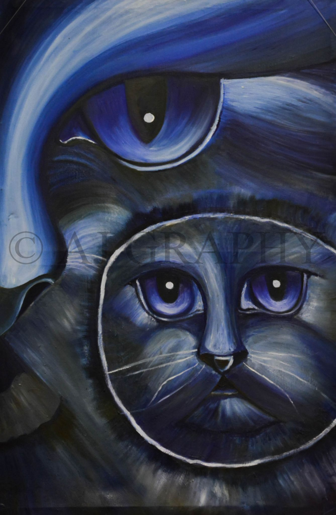 blue cats painting by AJ GRAPHY