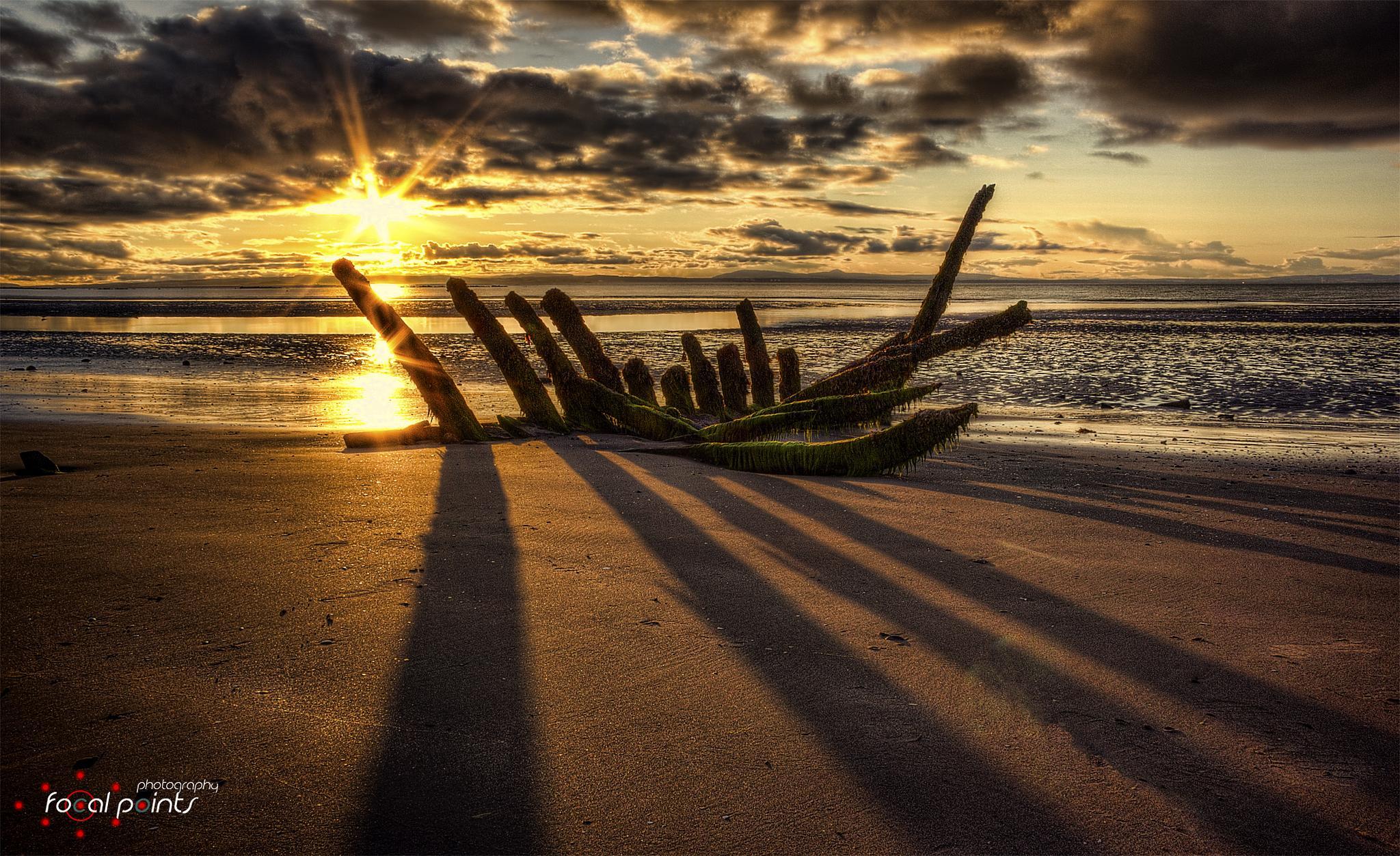 Photo in HDRI #sunset #beach #boat #wreck #sand #water #hdr #scotland #landscape #seascape