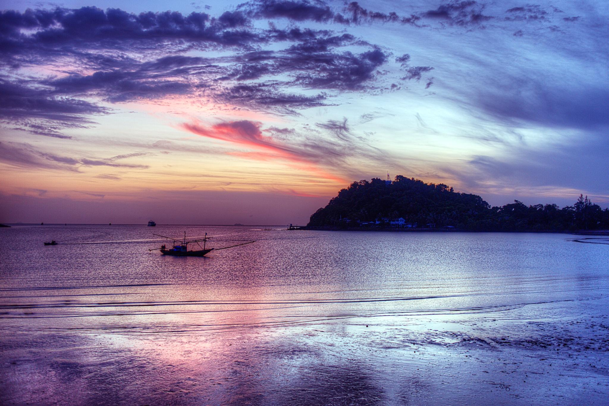 Chumphon Ferry sunrise by Dan Burger