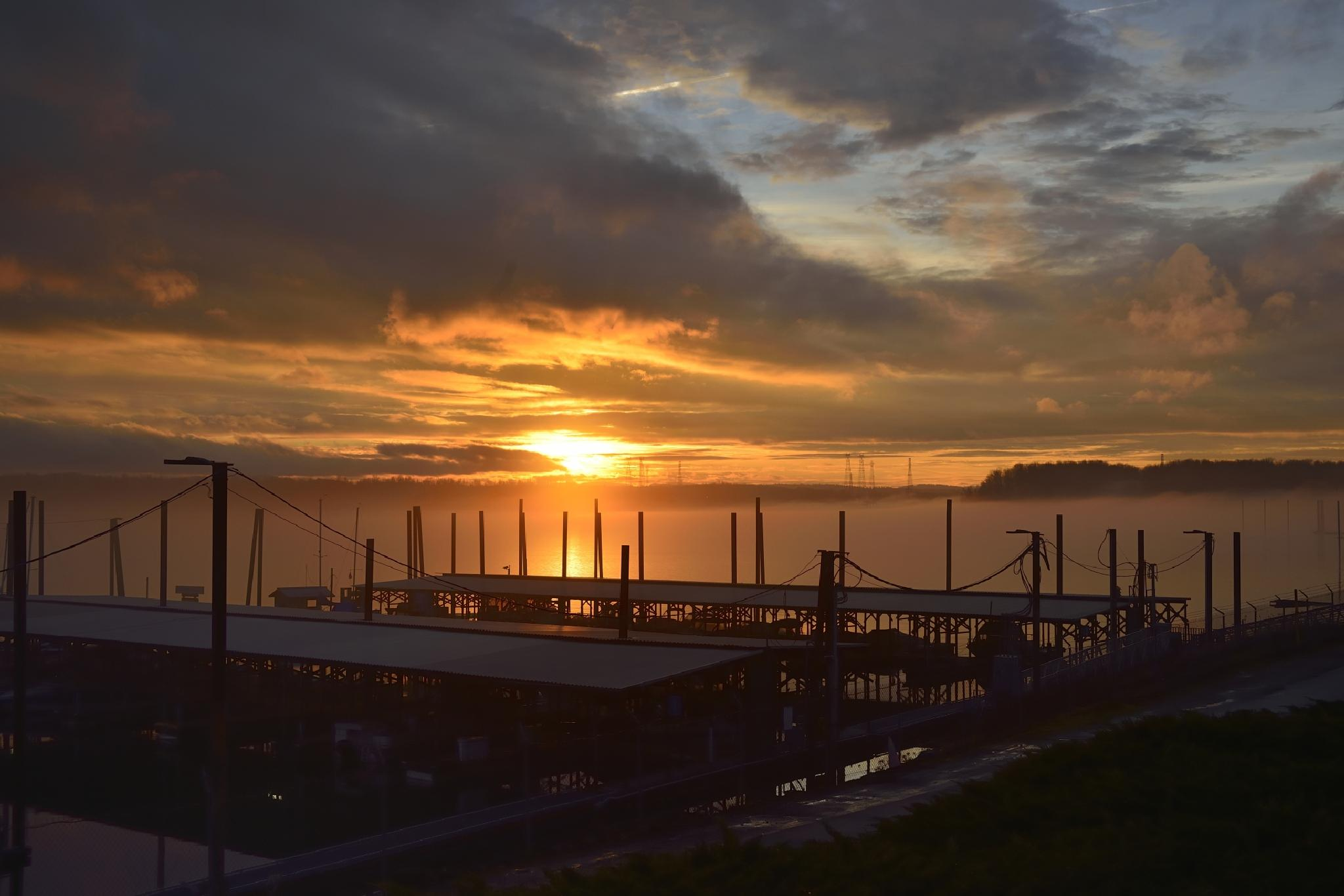 Sunset Over the Marina by Leback