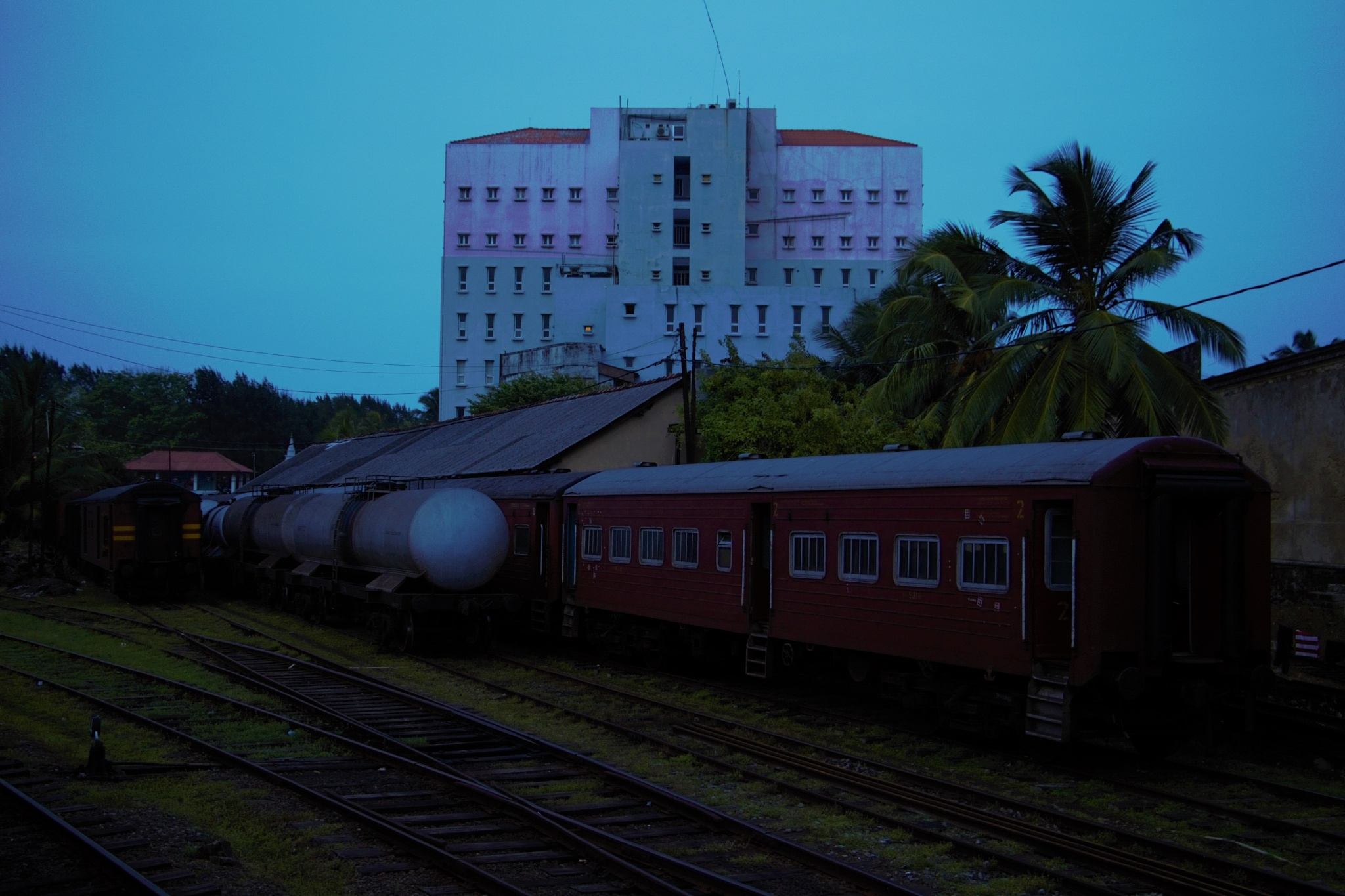 Early Morning In The Galle Railway Station.{Sri Lanka.} by A.Samathasena