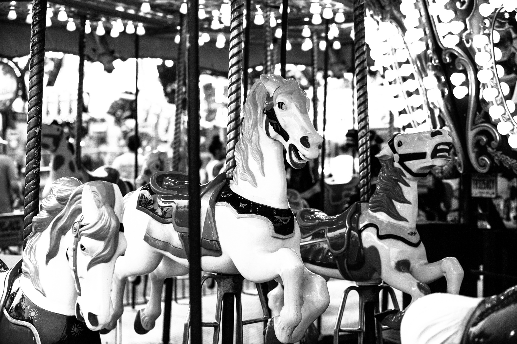 """Carousel Horses At Night""  B n W by vincent.whitehead.3"