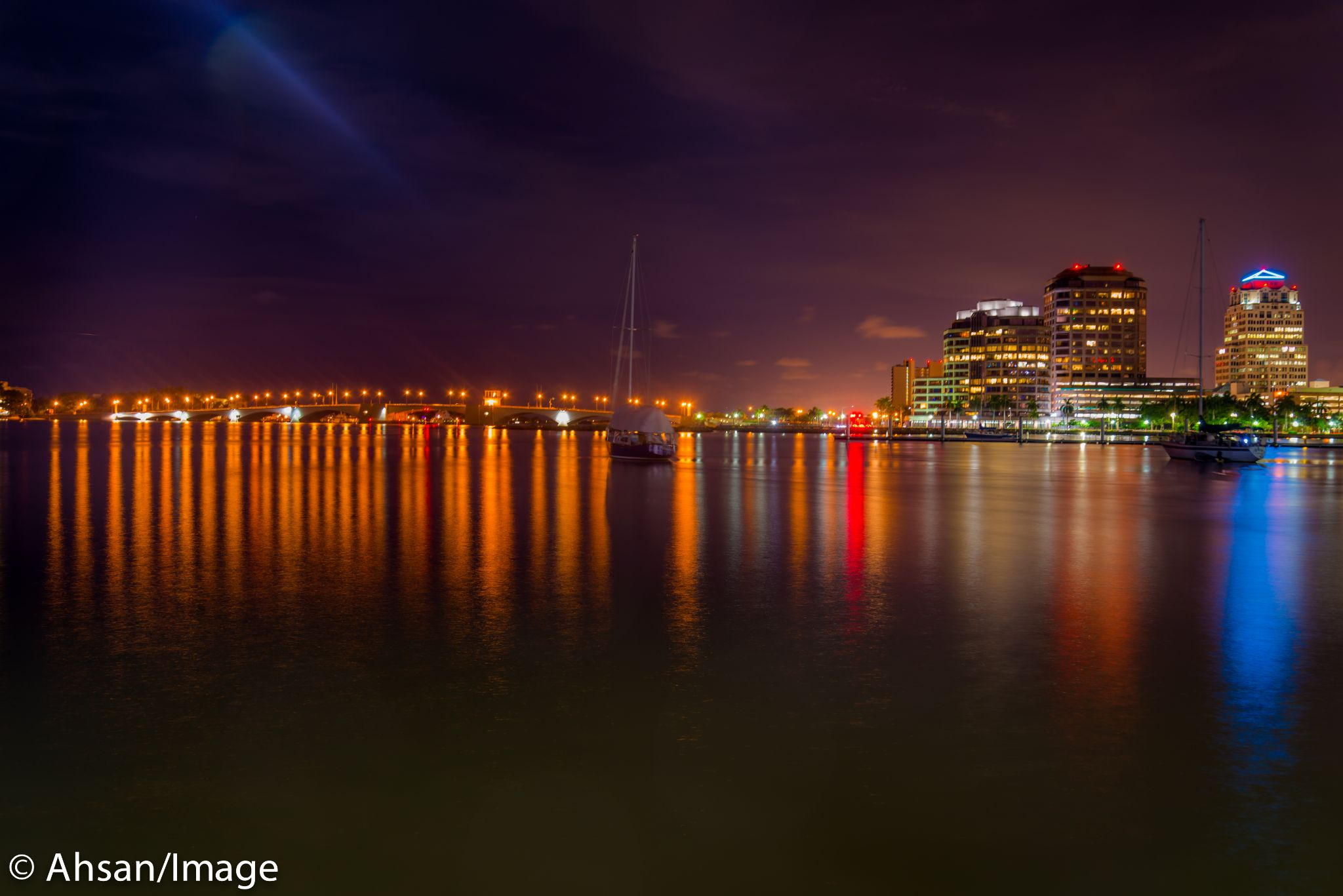 Our beautiful downtown WPB at Night by ahsan.ullah.5648