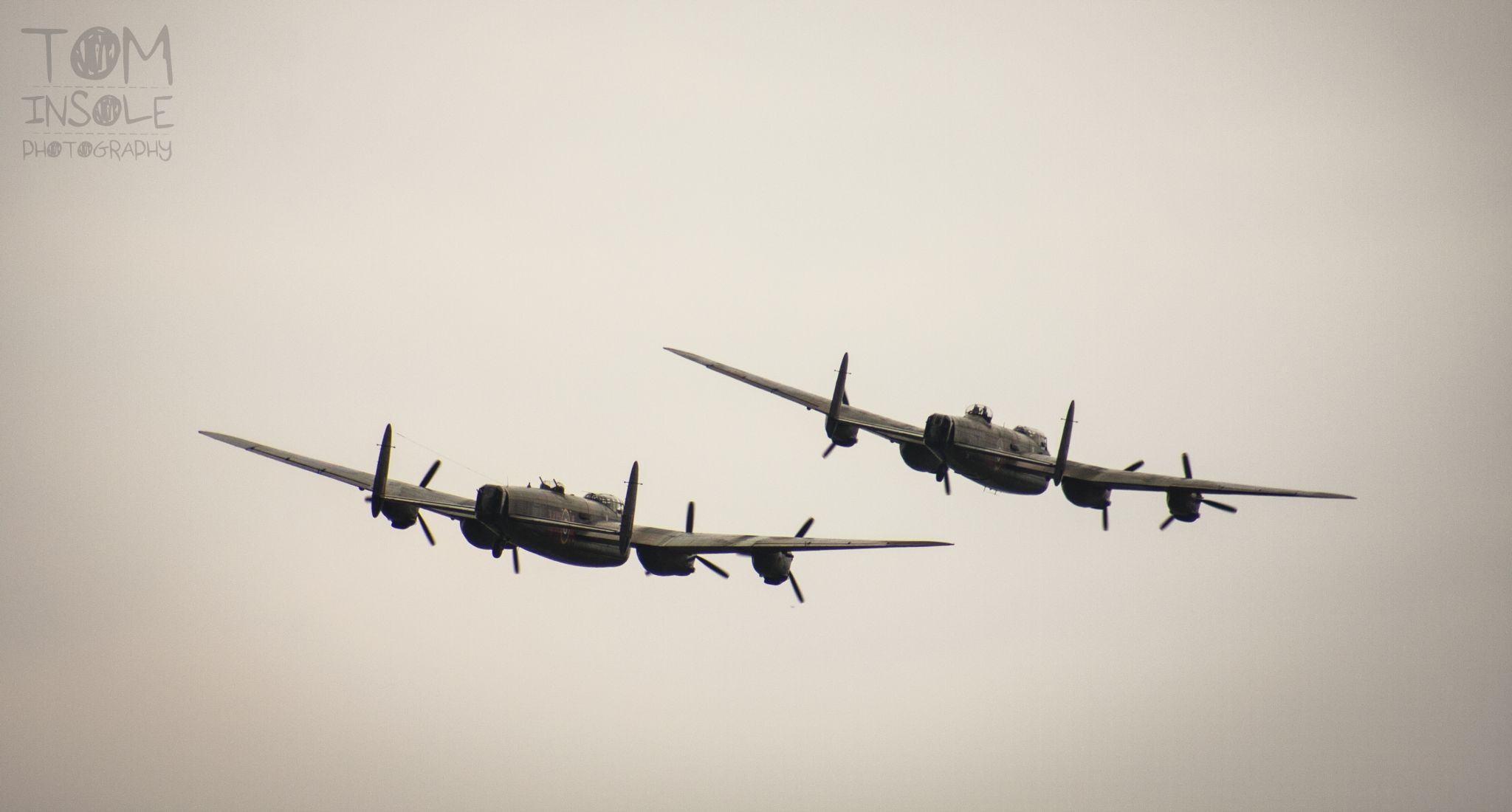 Two Lancaster Bombers by Tom Insole