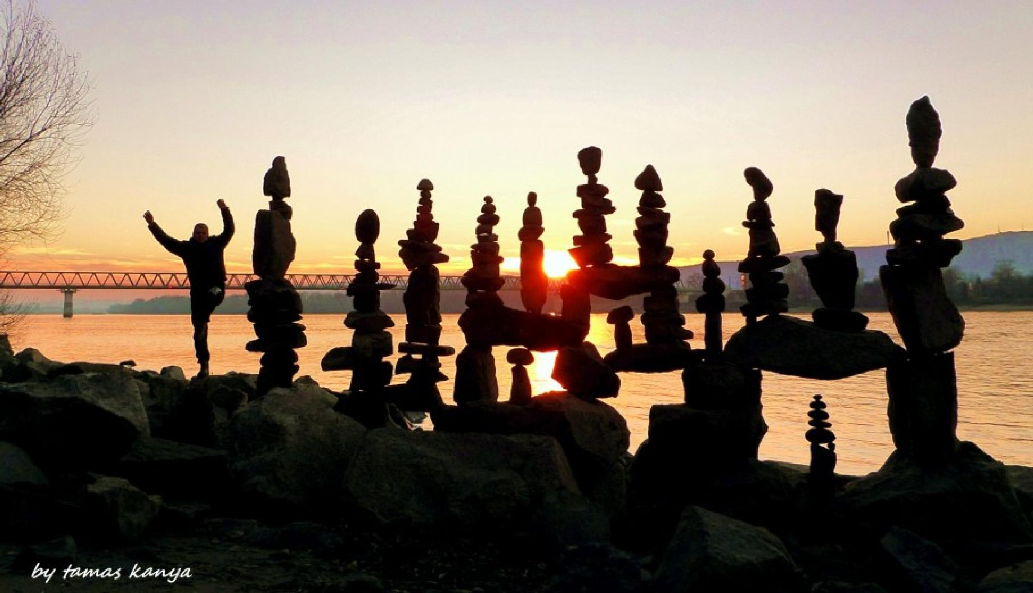 Stone balance in the sunset in Hungary by kanya by Tamas Kanya