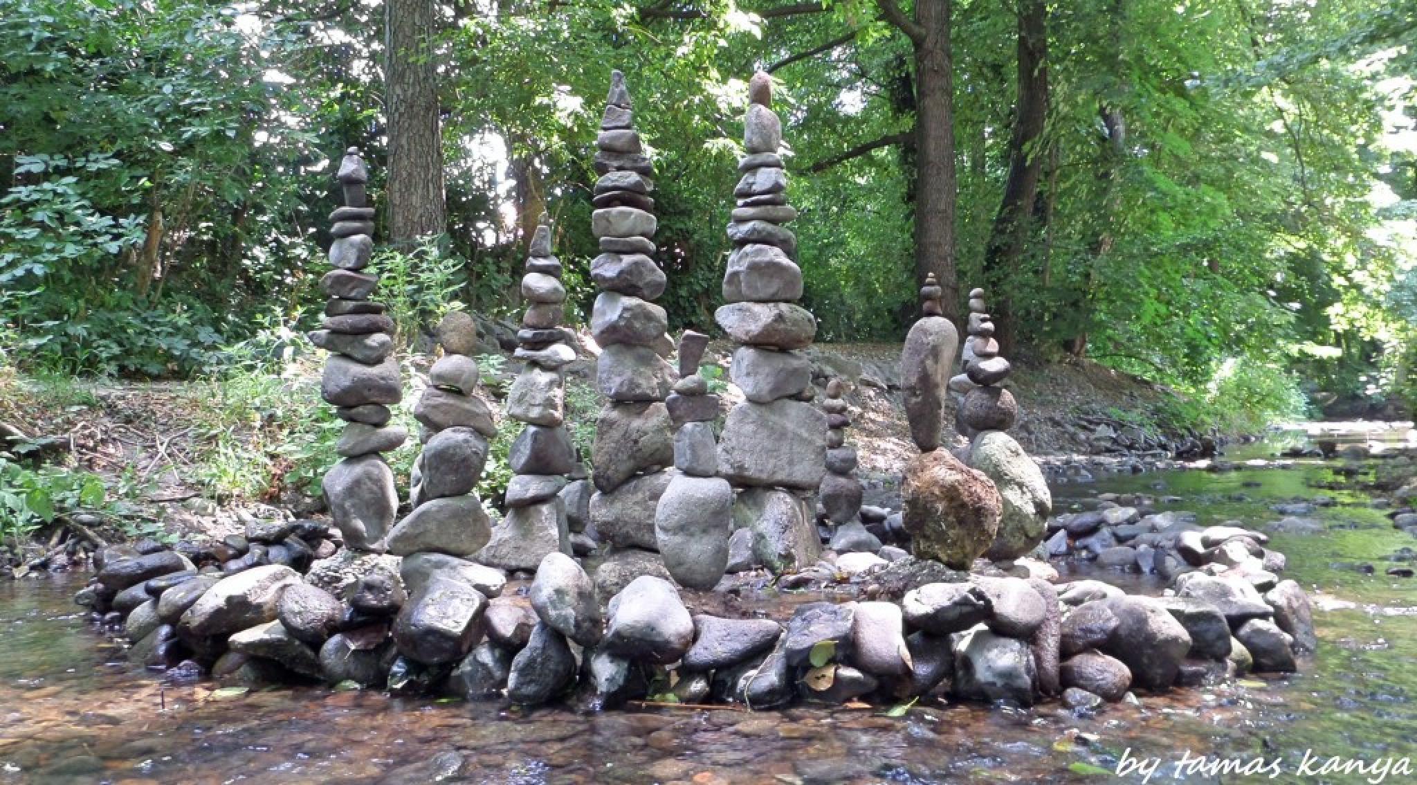 Stone balance art in Hungary by tamas kanya by Tamas Kanya