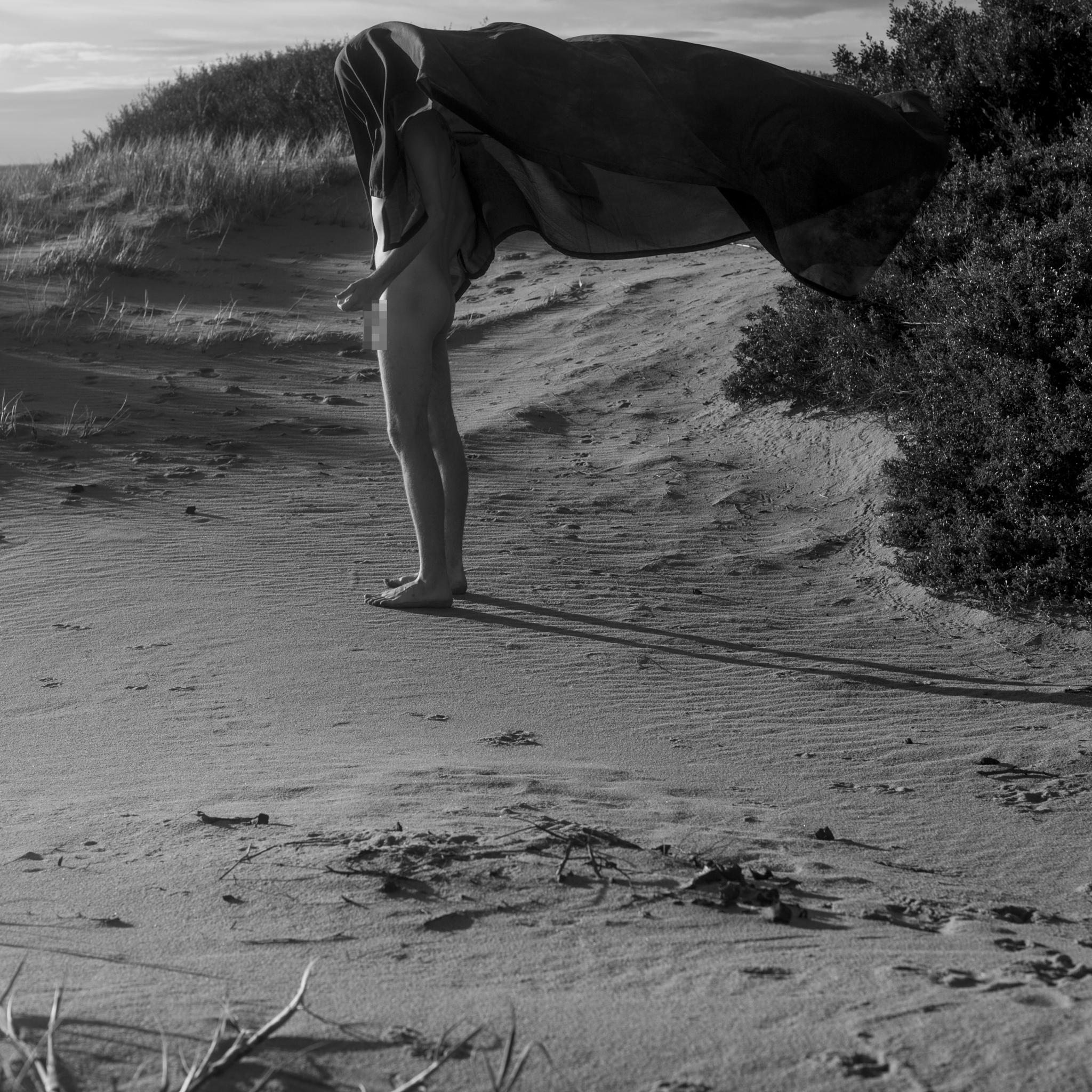 Photo in Fine Art #conceptual #fineart #nude #nathan #milner #self #portrait #beach #naked #sand #sheet #blackandwhite #black #white