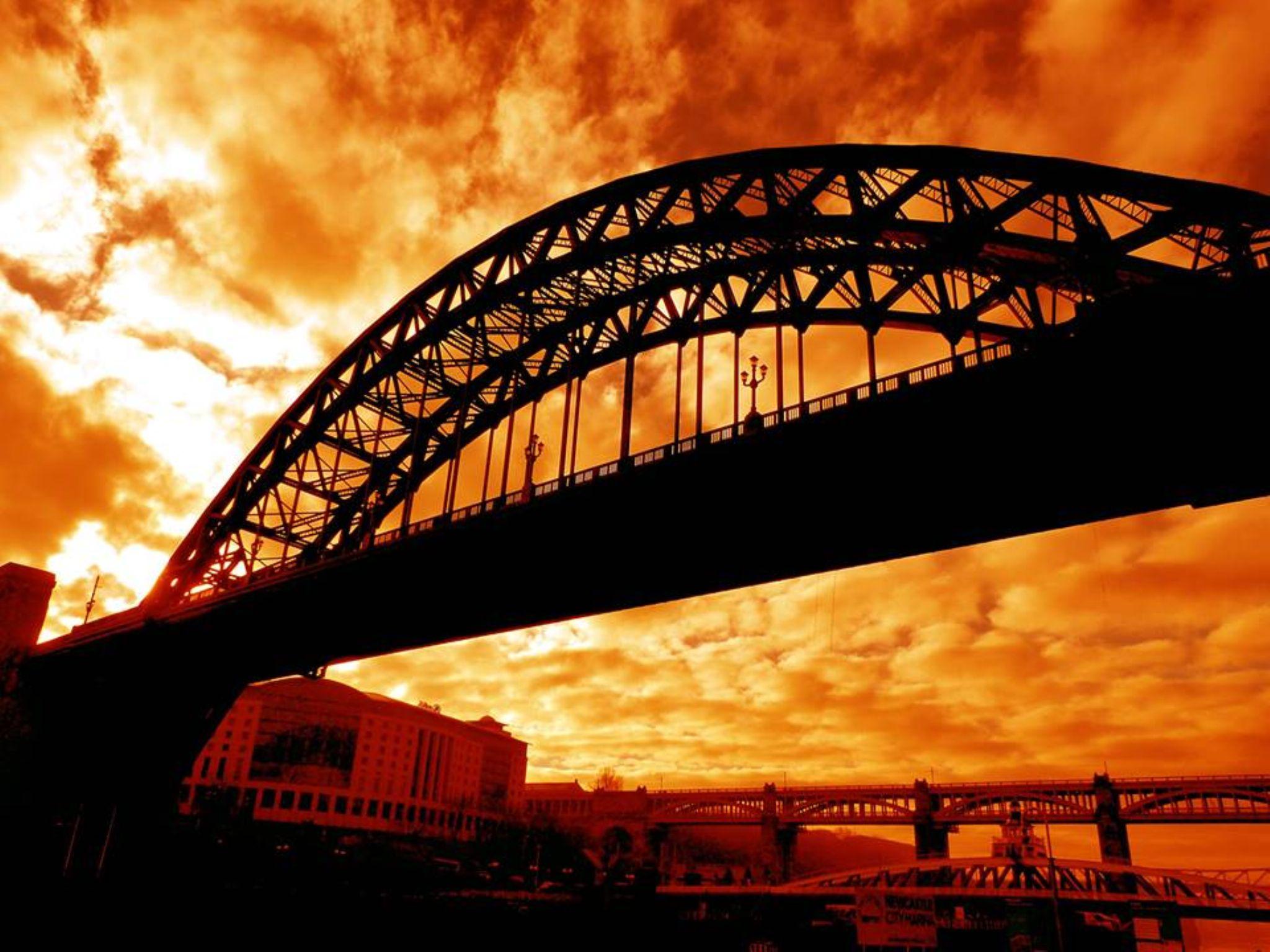 Fiery Sky over the Tyne by Darren Turner