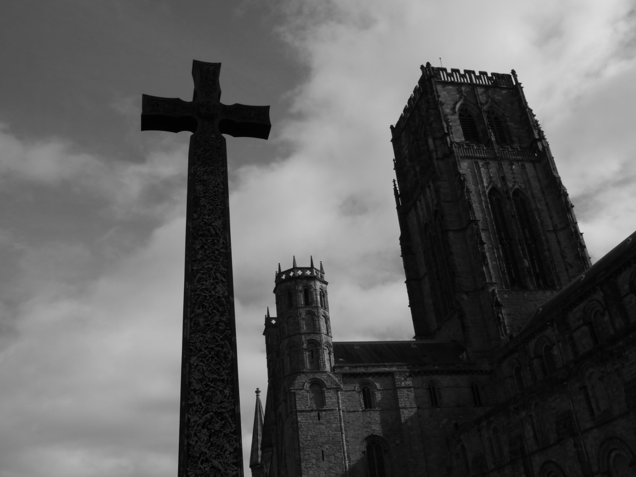 Durham cathedral and cross. by Darren Turner