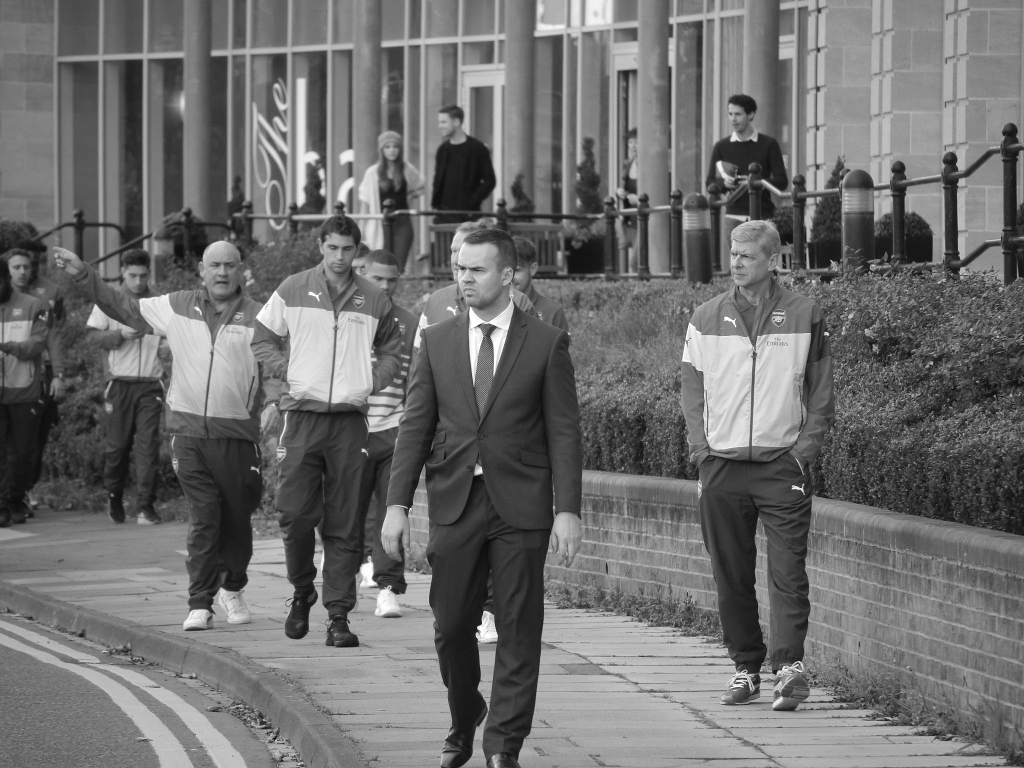 Arsenal FC about to go on a team walk at Durham this morning. by Darren Turner