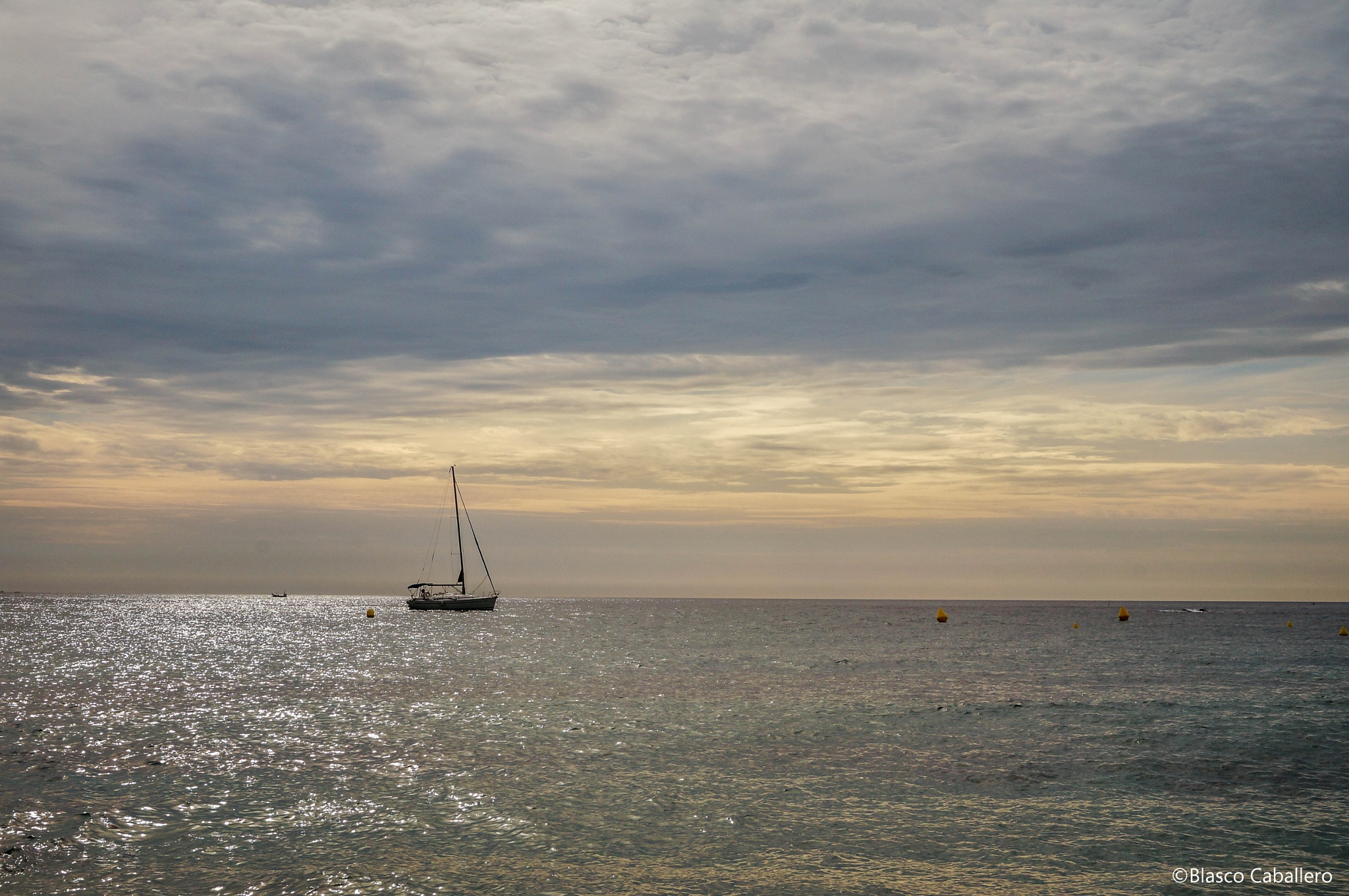 Sailboat on the horizon by Blasco Caballero