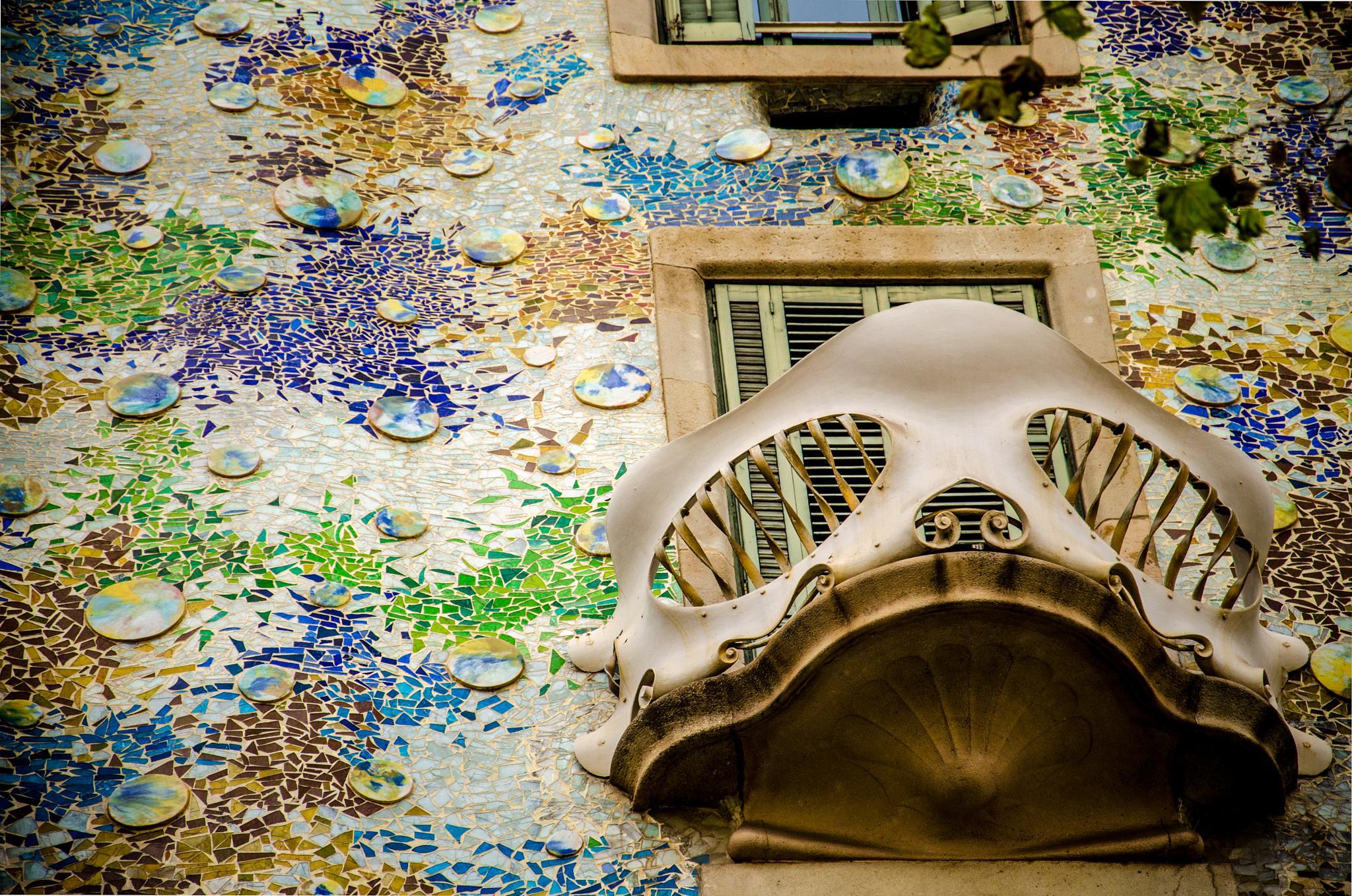 Photo in Architecture #balcony #barcelona #catalunya #spain #espanya #gaudi #colors #oldschool #vintage