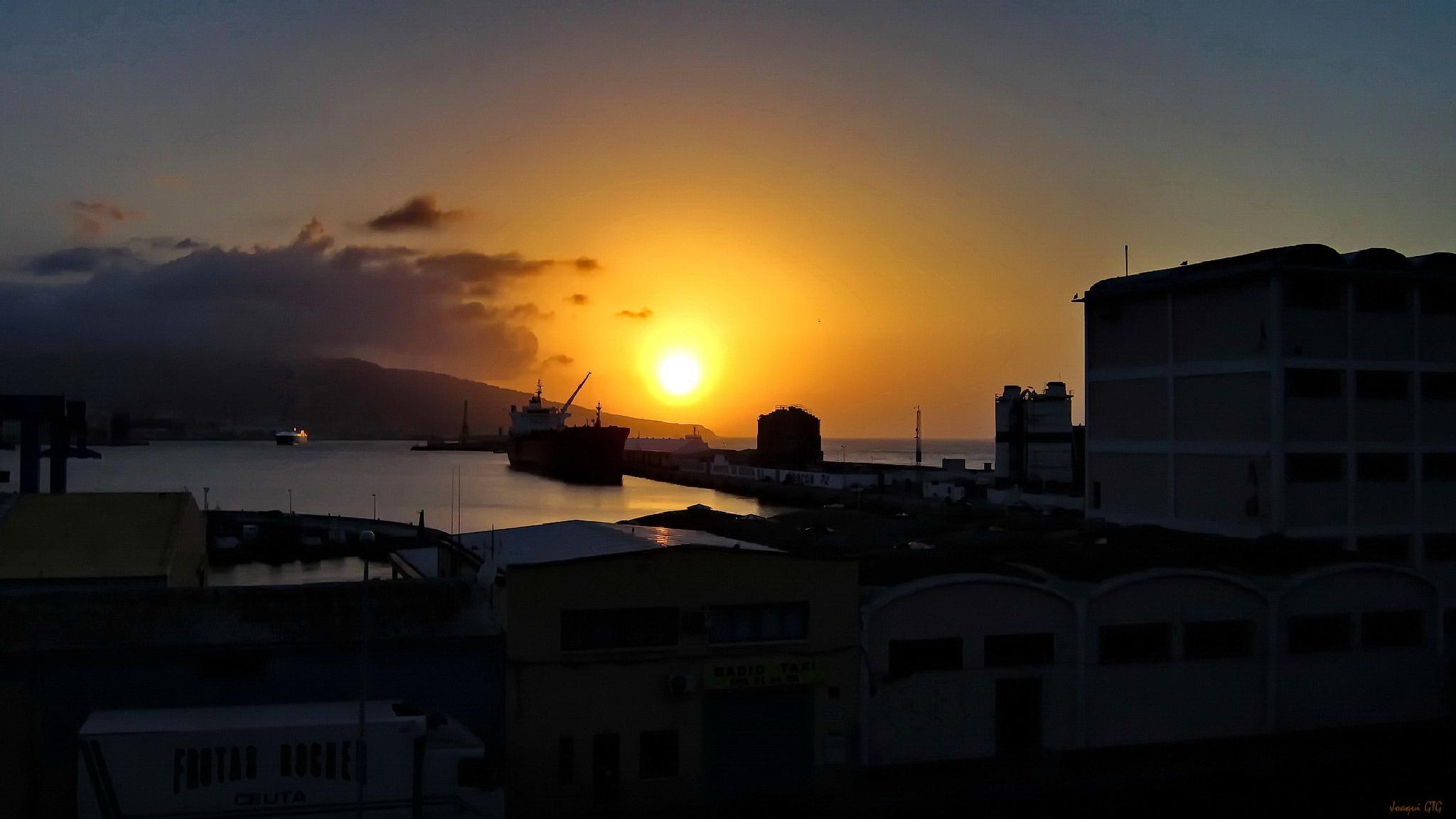 Photo in Landscape #atardecer #puerto #ceuta