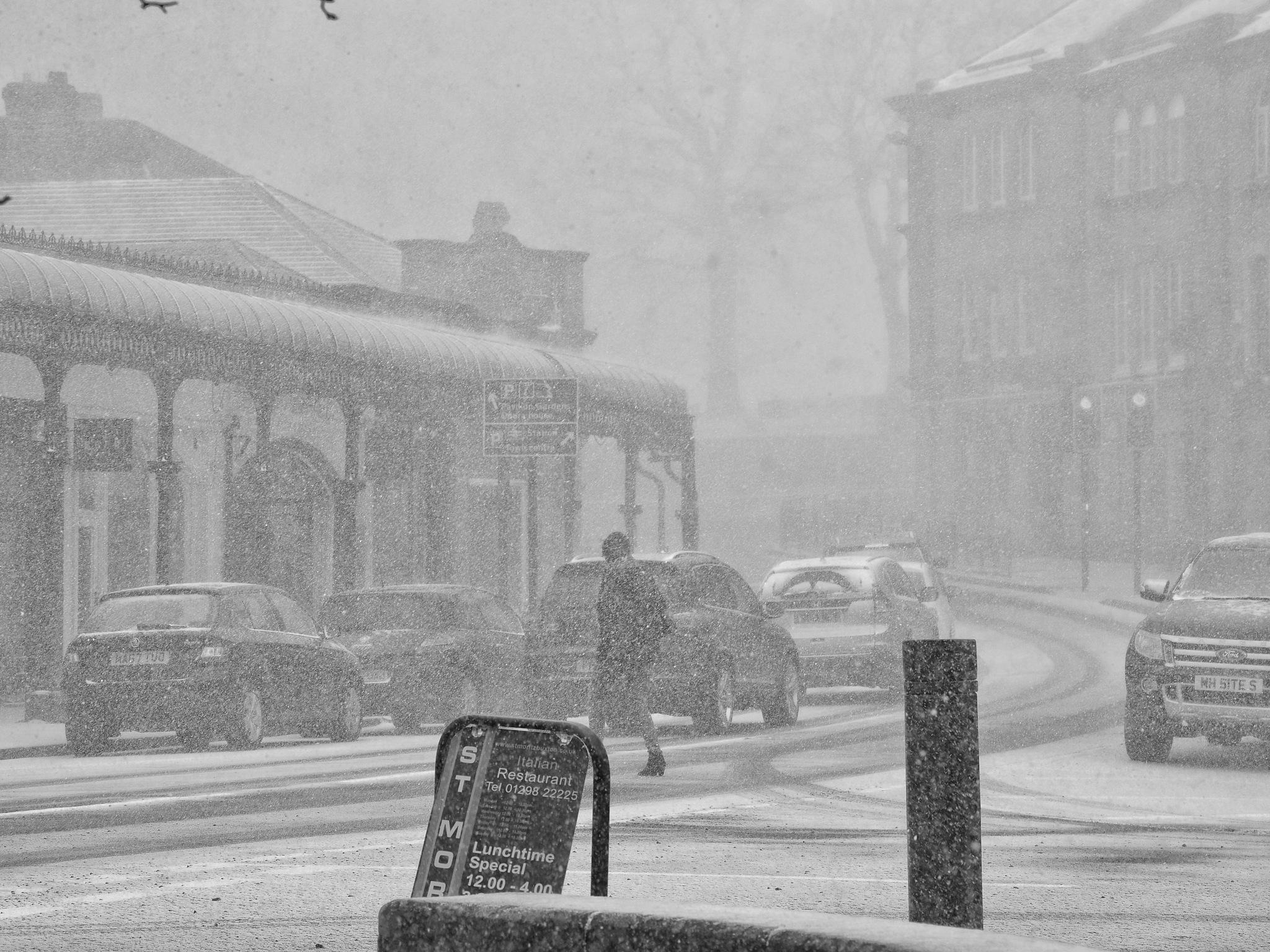 Heavy Snow Shower,Buxton,Derbyshire. by john.bradburn