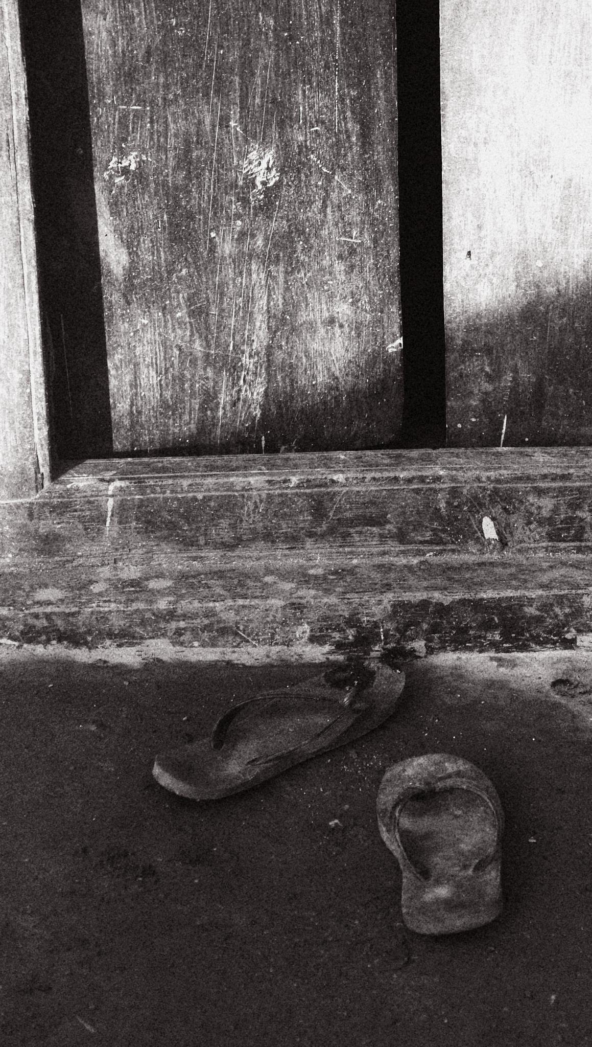 Photo in Black and White #monochrome #door #slipper #loneliness