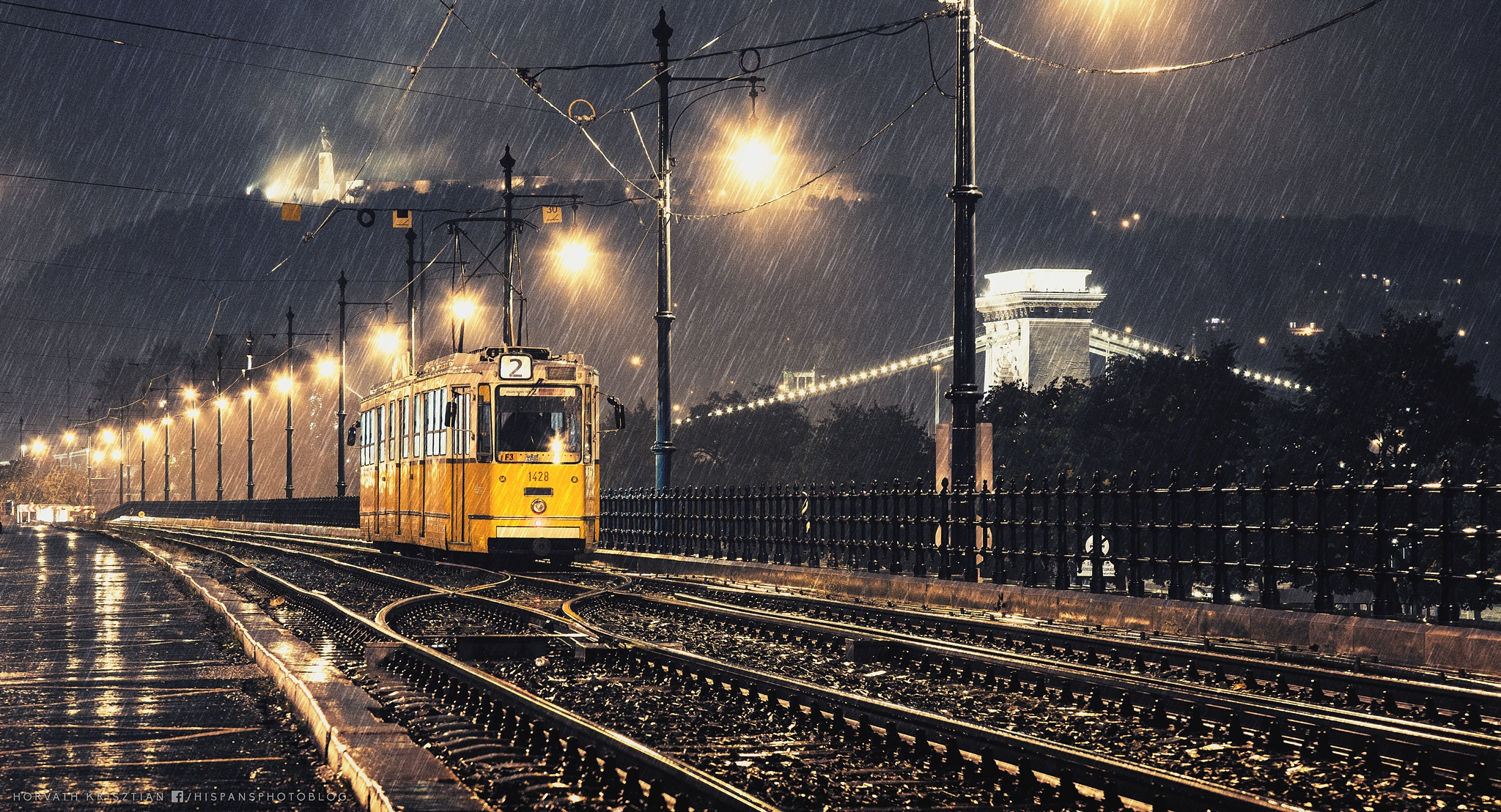 Lonely tram in the rain by hispan