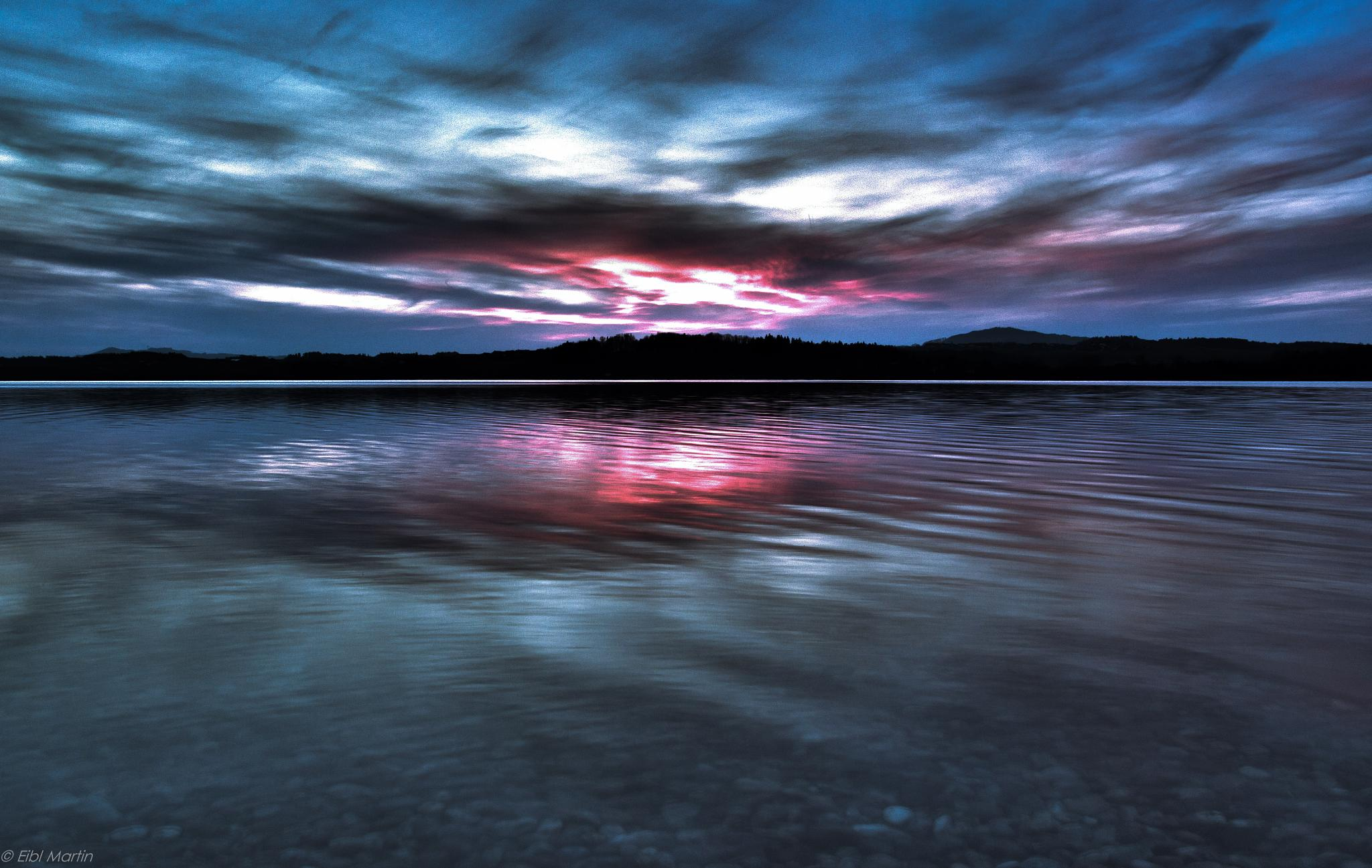 sunset on the lake waller by Martin