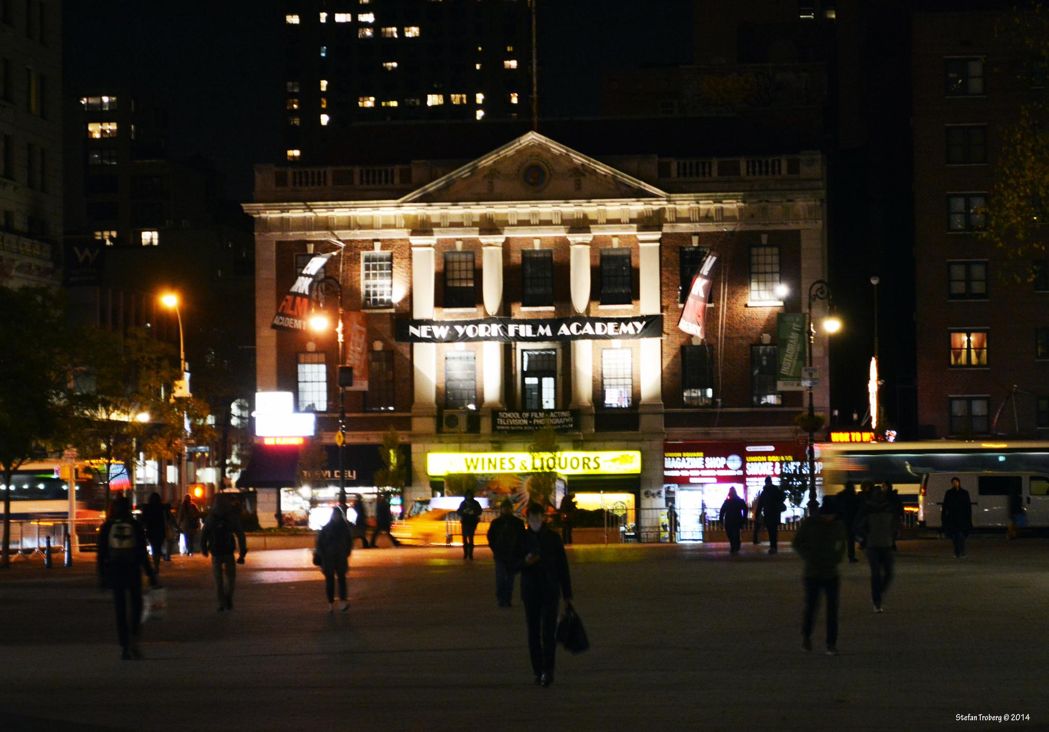 New York Film Academy by night at Union Sq in Manhattan by Stefan Troberg