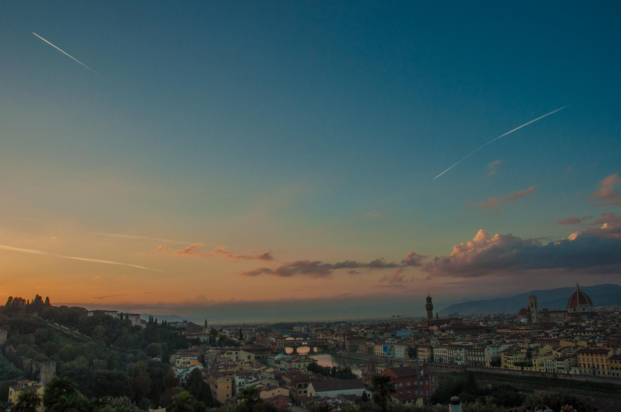 Two planes over Florence by Dimitris Gkoutzamanis