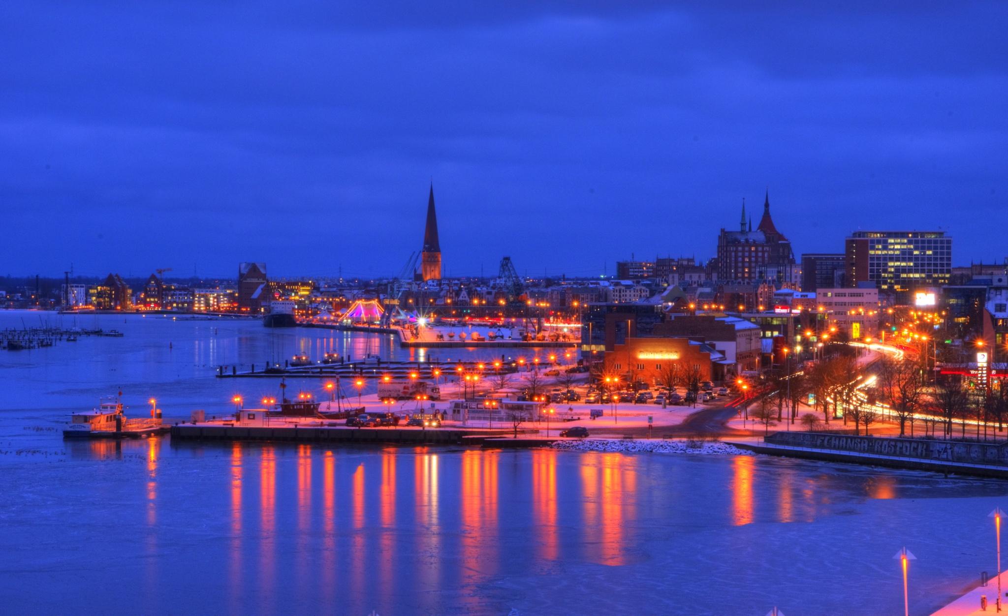 Rostock Cityport Blue Hour by diplompunk