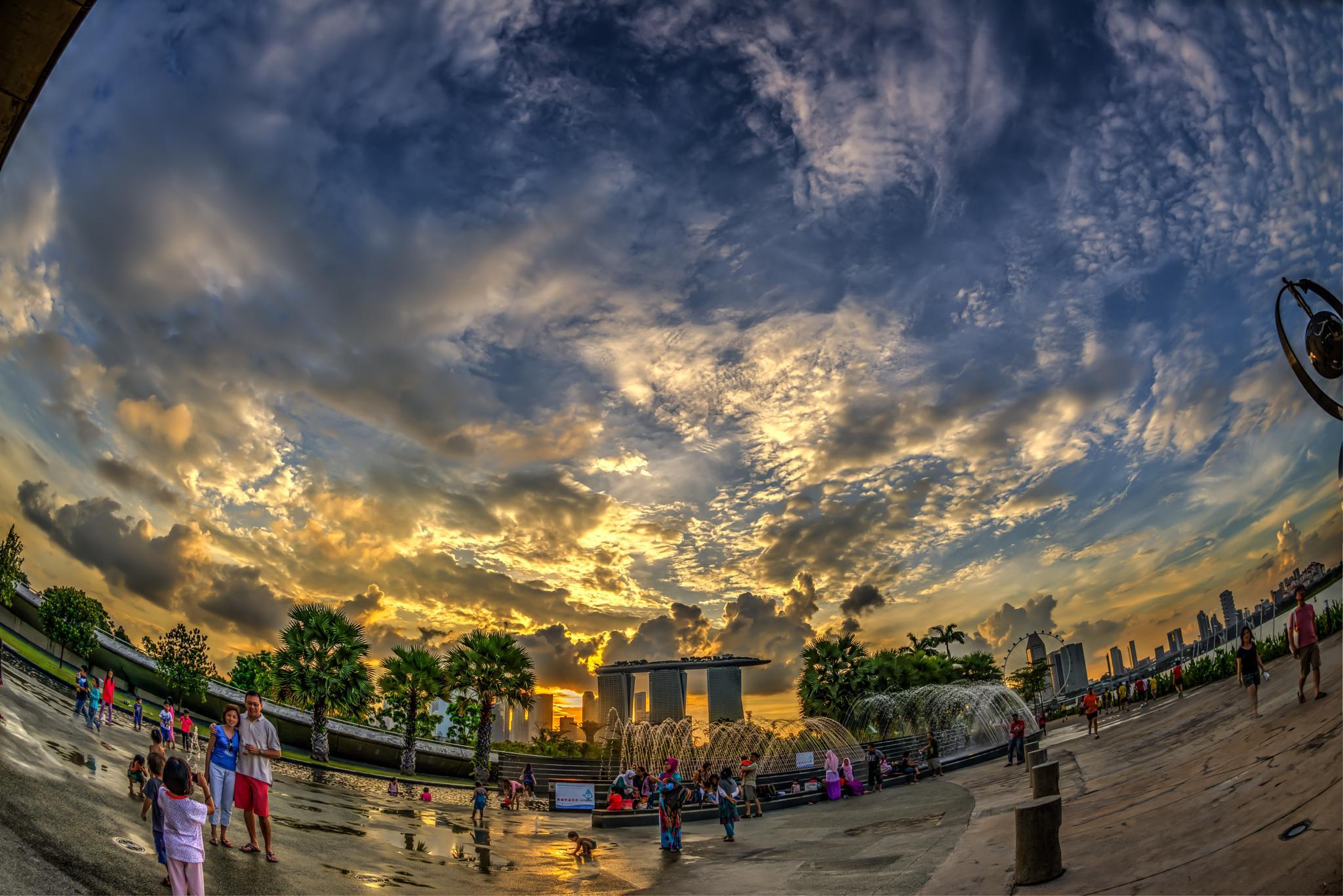 Fisheye View of Marina Bay Esplanade at Sunset, Singapore, Photo 26 by iatu8888