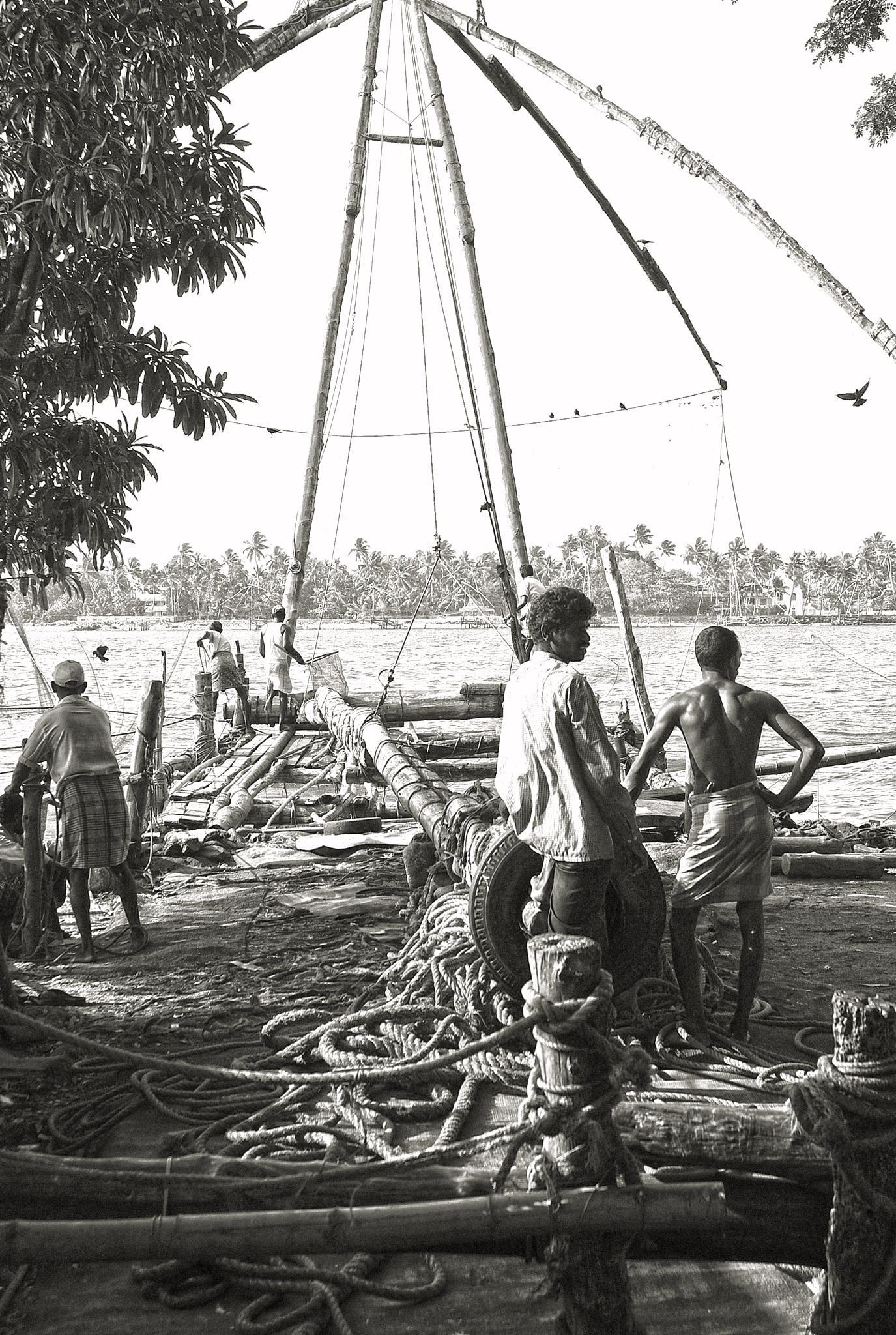 Fishermen in Cochin by Thierry Thévenet