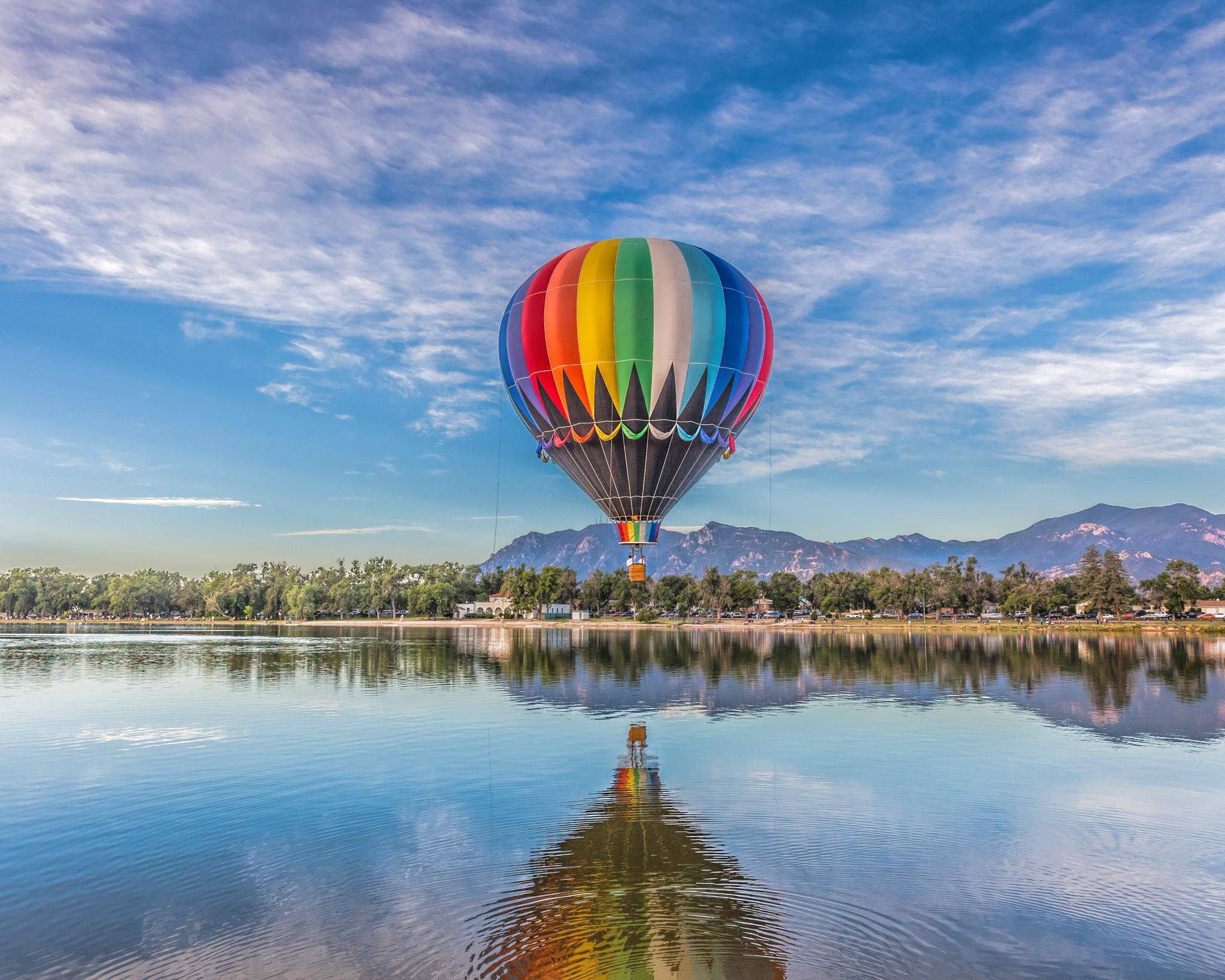 Balloon over Lake by FattirePhotography
