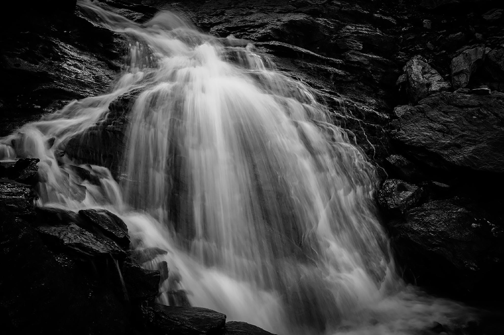 Photo in Landscape #waterfall #rocks #river #stream #alaska #jwfisher #photography #beautiful #flow #magical #bw #black and white #long exposure